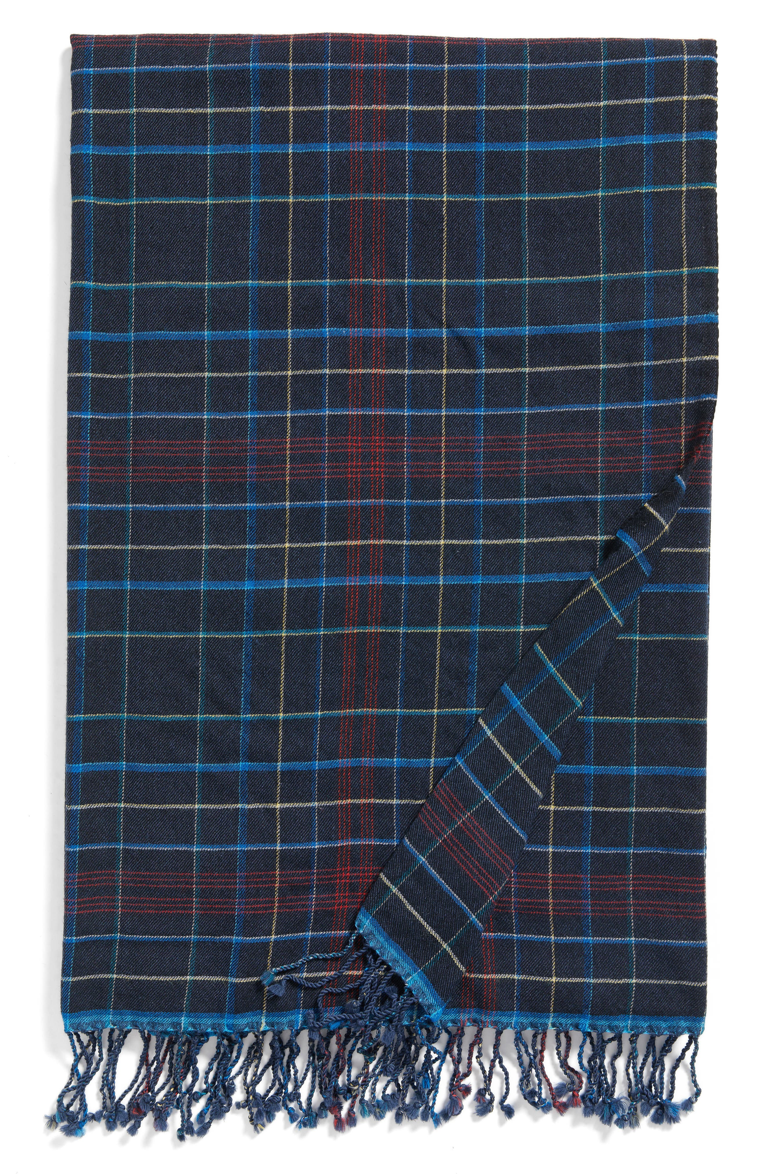 Plaid Double Face Merino Wool Throw,                             Main thumbnail 1, color,                             Navy Multi