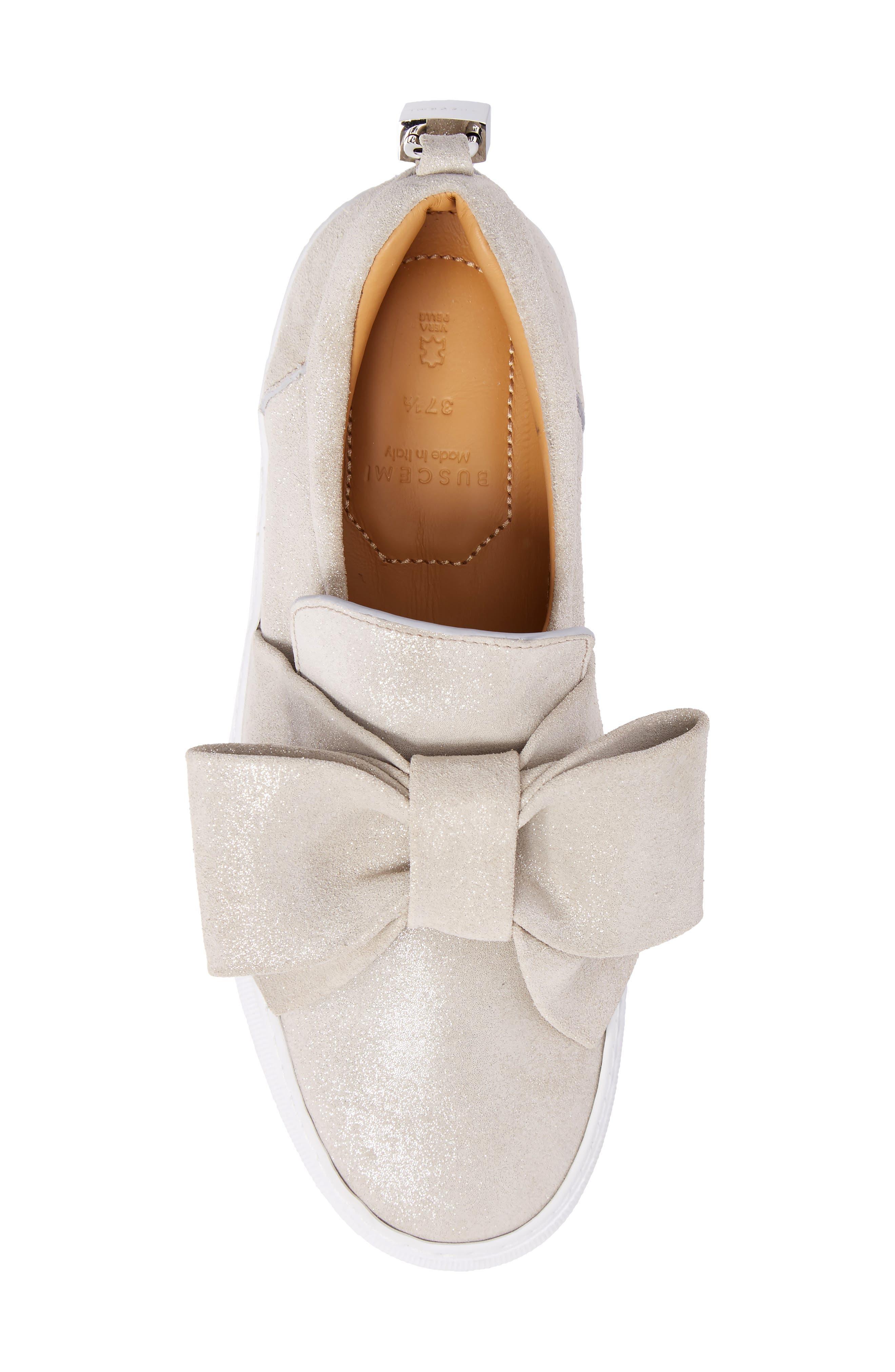 Bow Slip-On Sneaker,                             Alternate thumbnail 5, color,                             Gleam Grey
