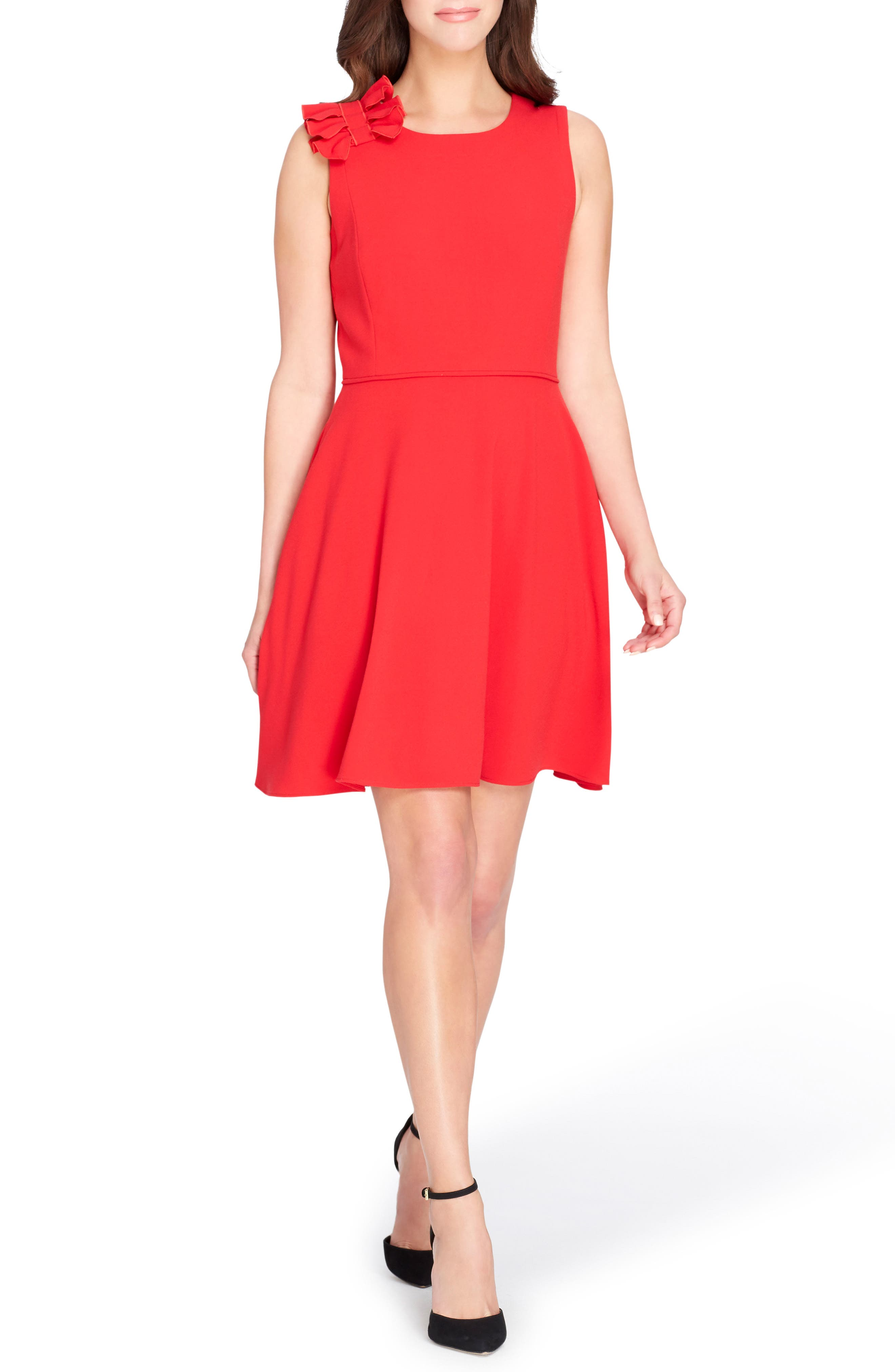 Bow Fit & Flare Dress,                             Main thumbnail 1, color,                             Lipstick Red