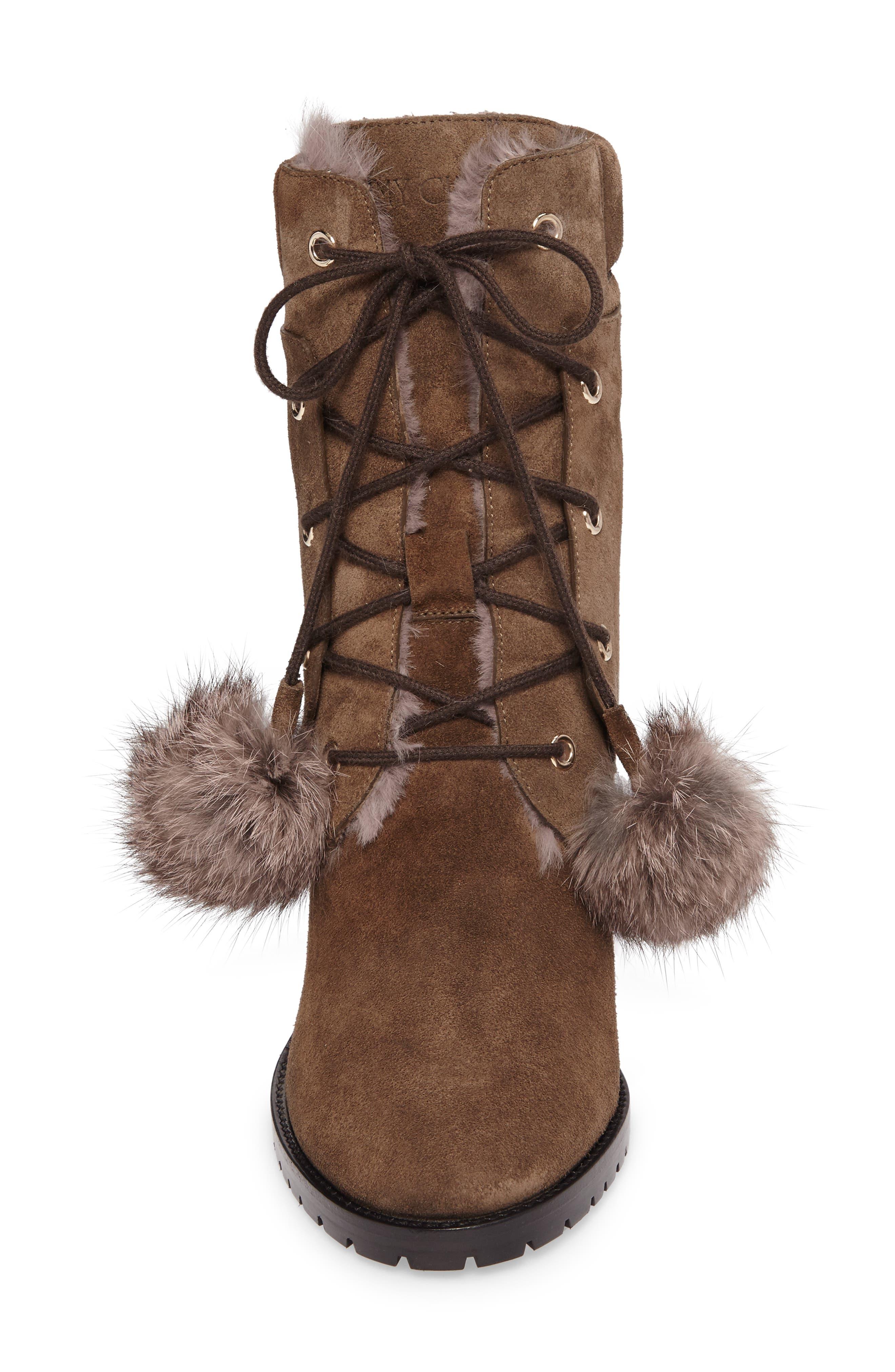 Elba Genuine Rabbit Fur Boot,                             Alternate thumbnail 4, color,                             Mink