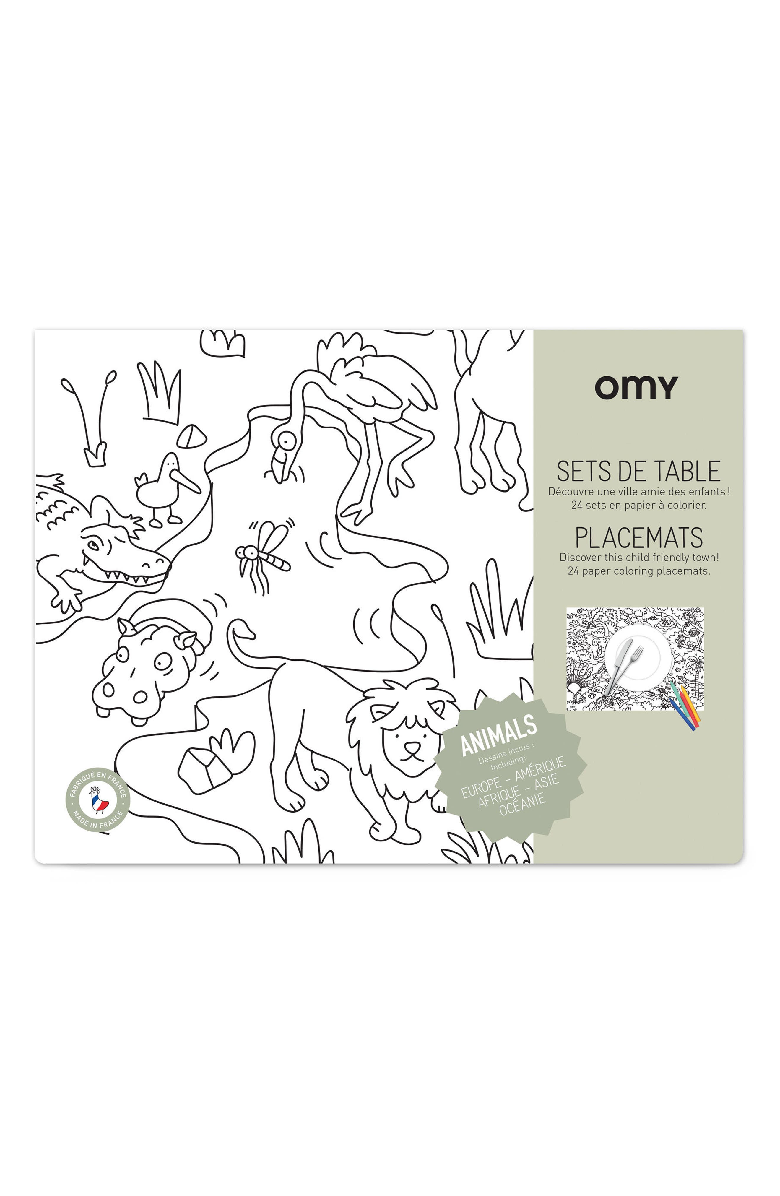 Set of 24 Animals Coloring Placemats,                         Main,                         color, Animal