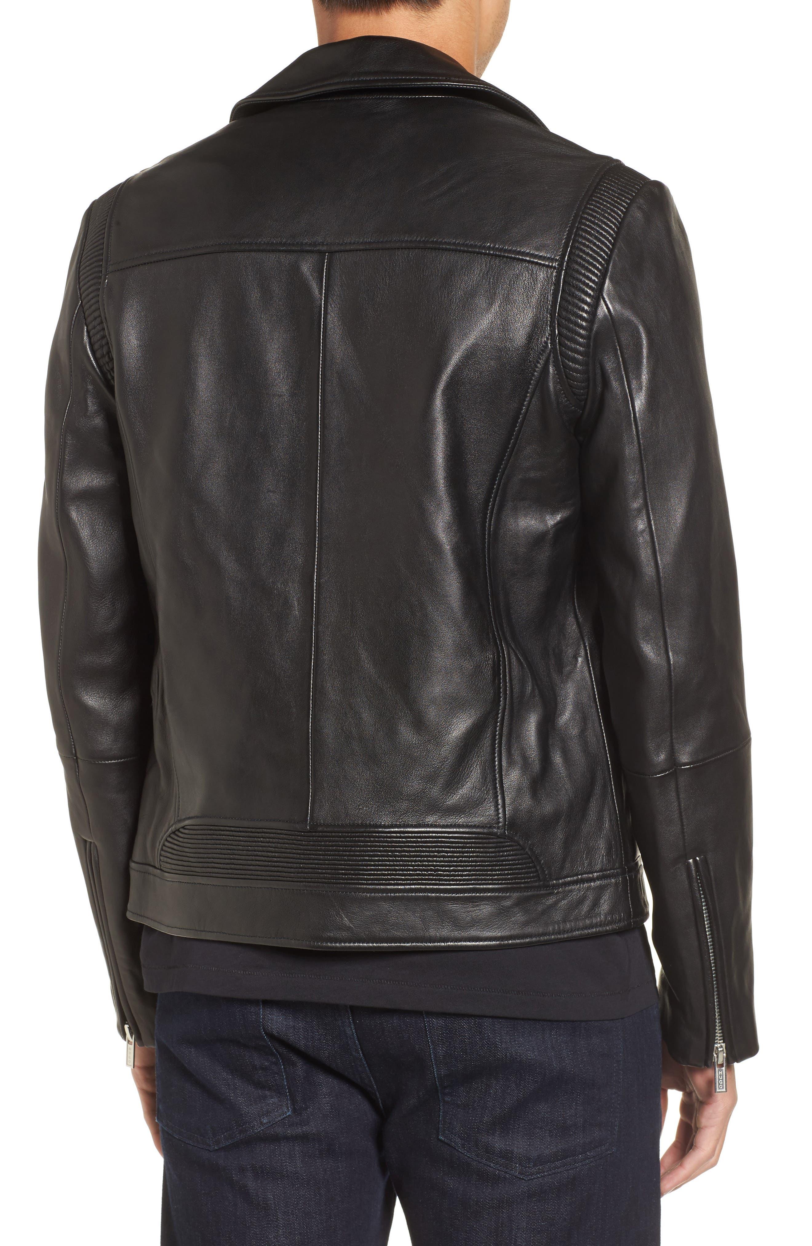 Laston Leather Moto Jacket,                             Alternate thumbnail 2, color,                             Black