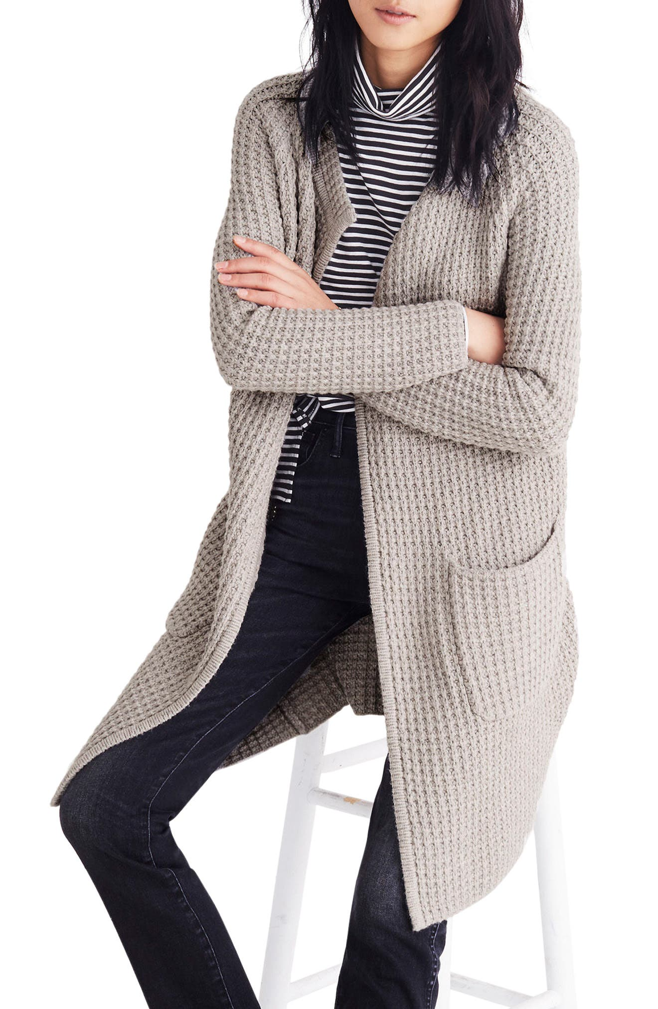 Waffle Stitch Sweater Jacket,                             Alternate thumbnail 3, color,                             Silver Cloud