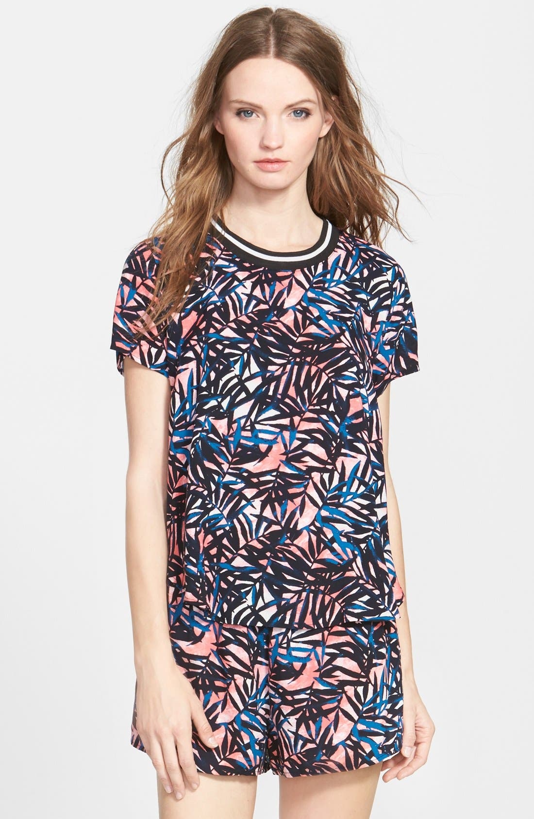 Alternate Image 1 Selected - Lily White Tropical Print Tee (Juniors)