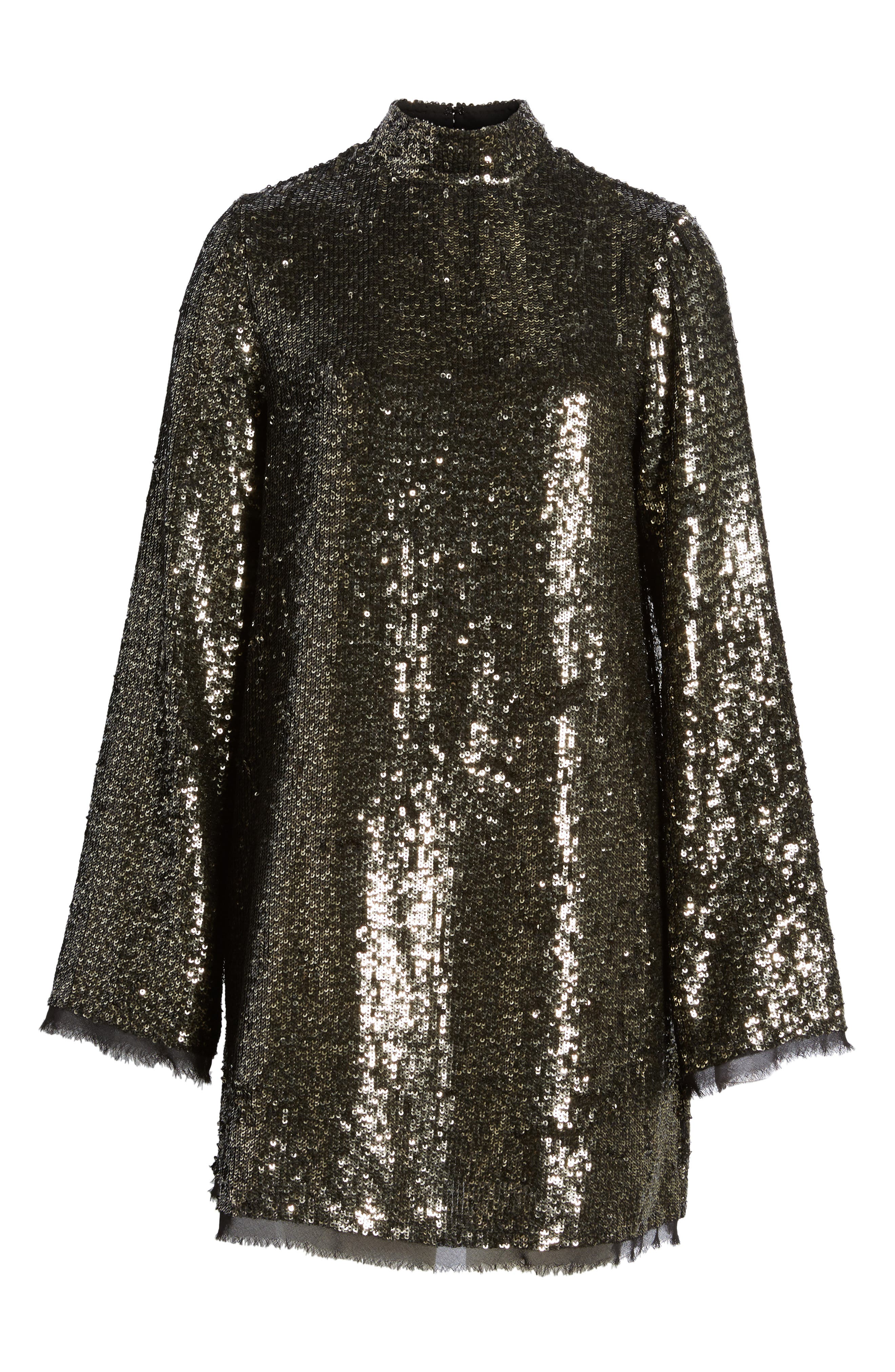 Sequin Shift Dress,                             Alternate thumbnail 6, color,                             Silver Multi