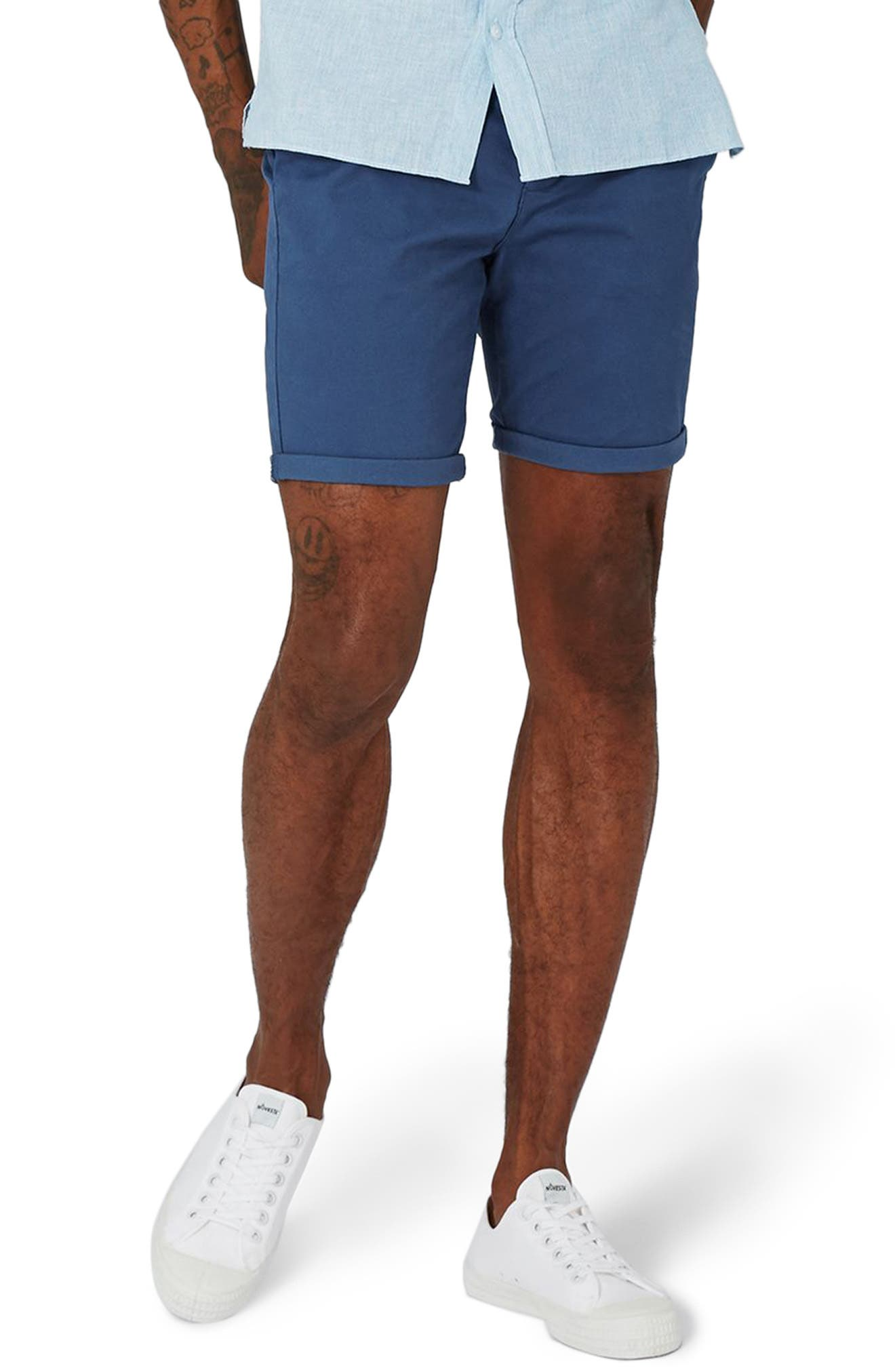 Stretch Skinny Fit Chino Shorts,                         Main,                         color, Mid Blue