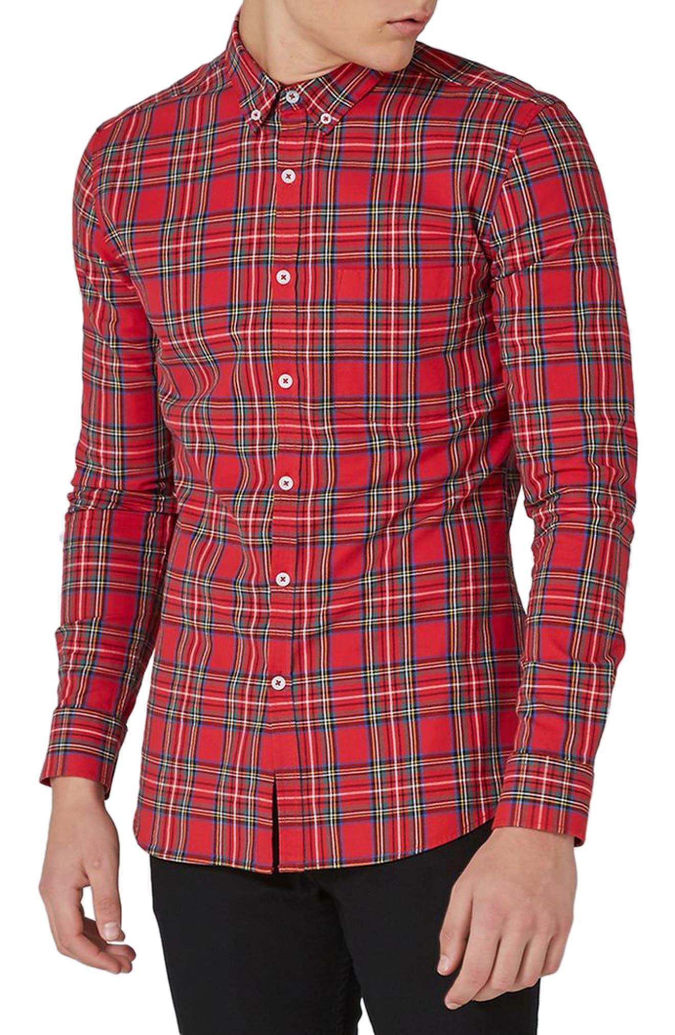 Topman Trim Fit Tartan Shirt