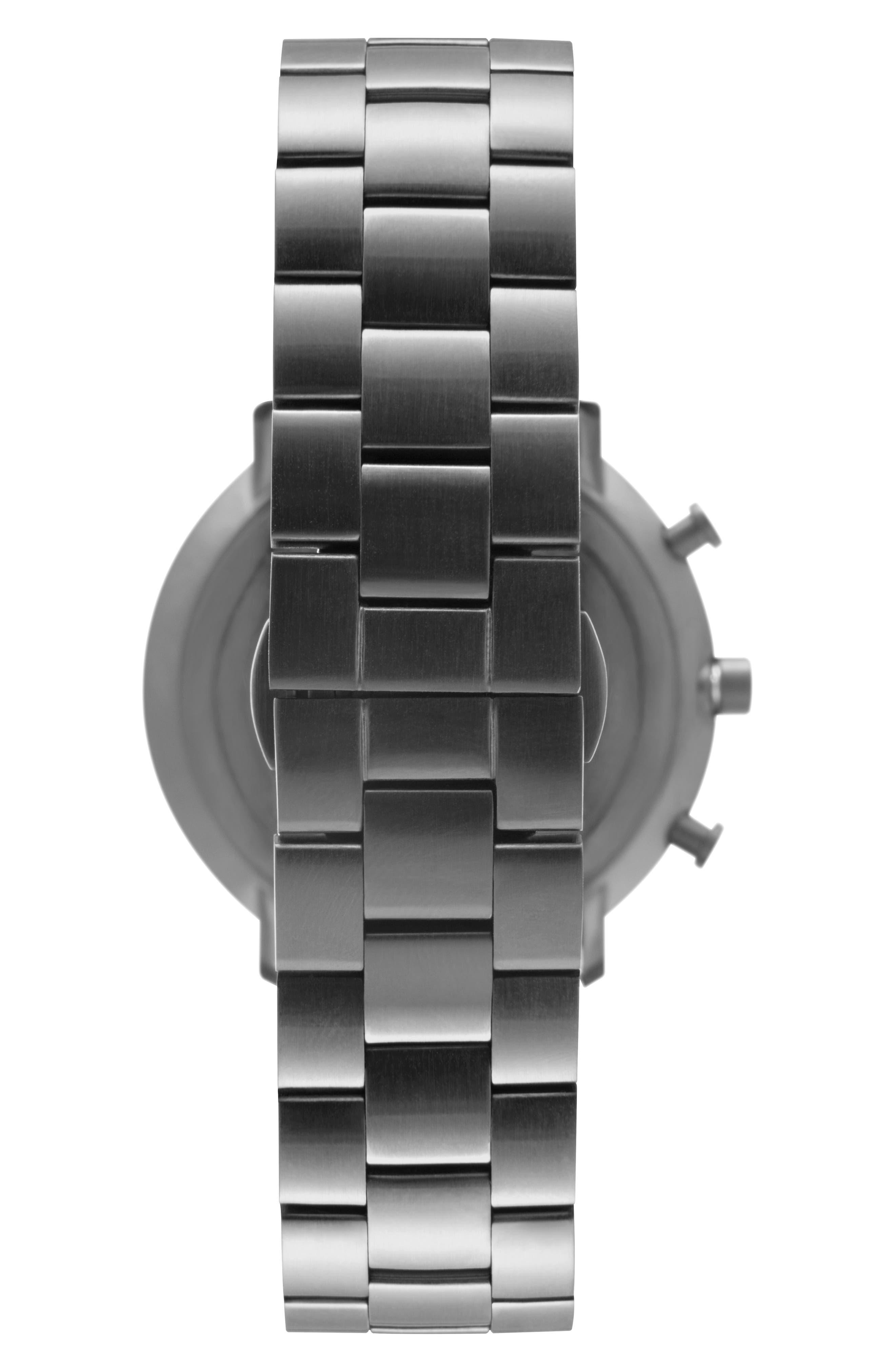 Leonard & Church Bleeker Chronograph Bracelet Watch, 40mm,                             Alternate thumbnail 3, color,                             Black