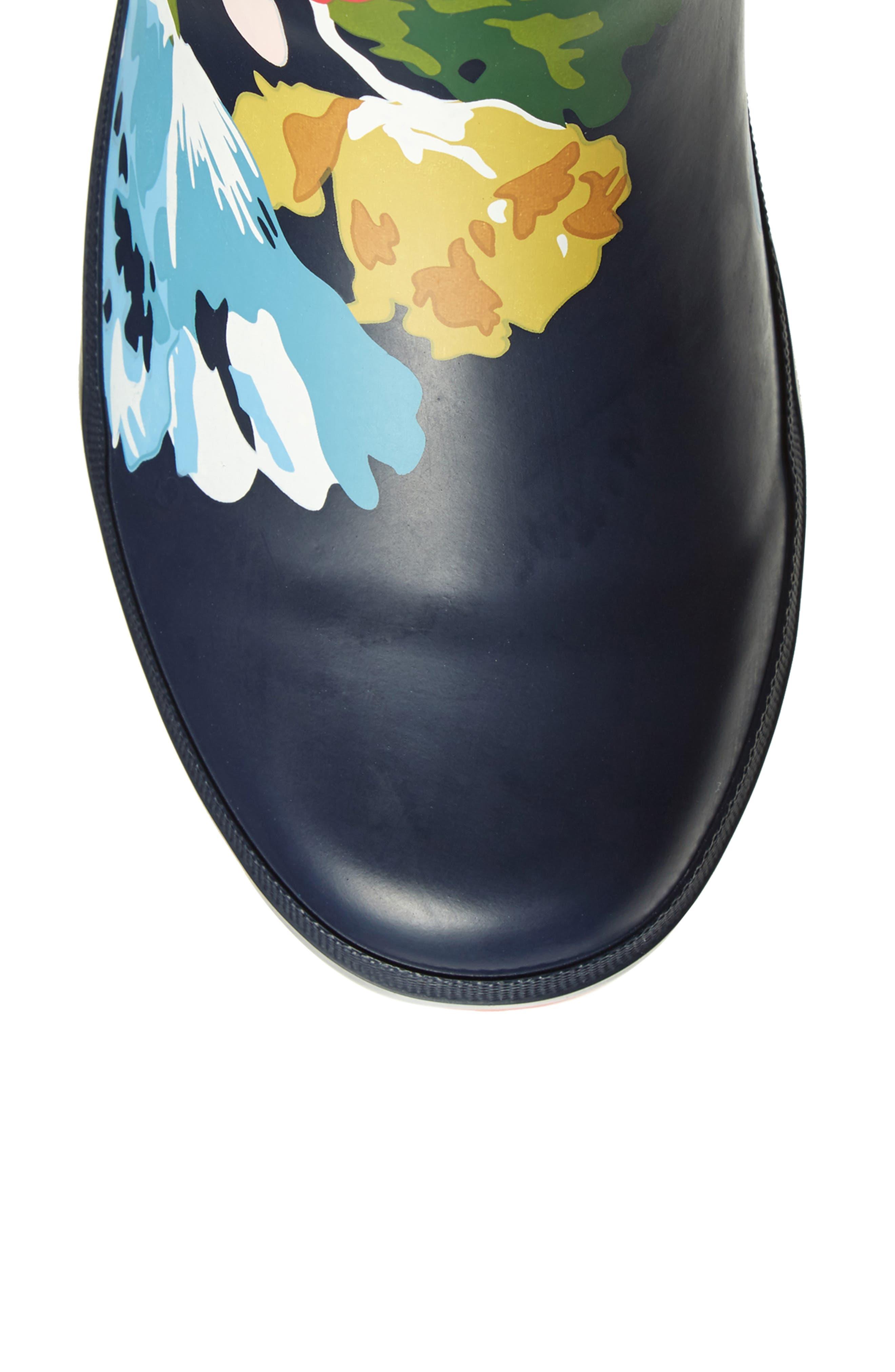 Ajusta Rain Boot,                             Alternate thumbnail 5, color,                             French Navy Posy
