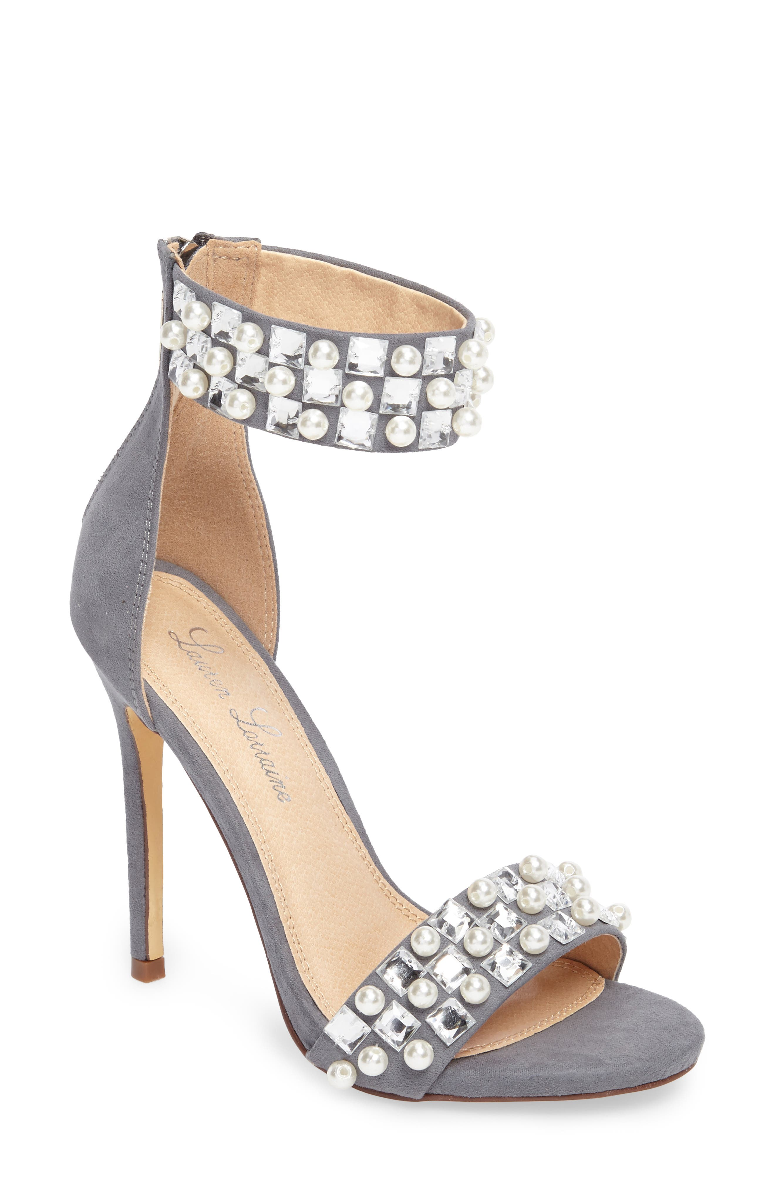 Sizzle Embellished Sandal,                             Main thumbnail 1, color,                             Grey Suede