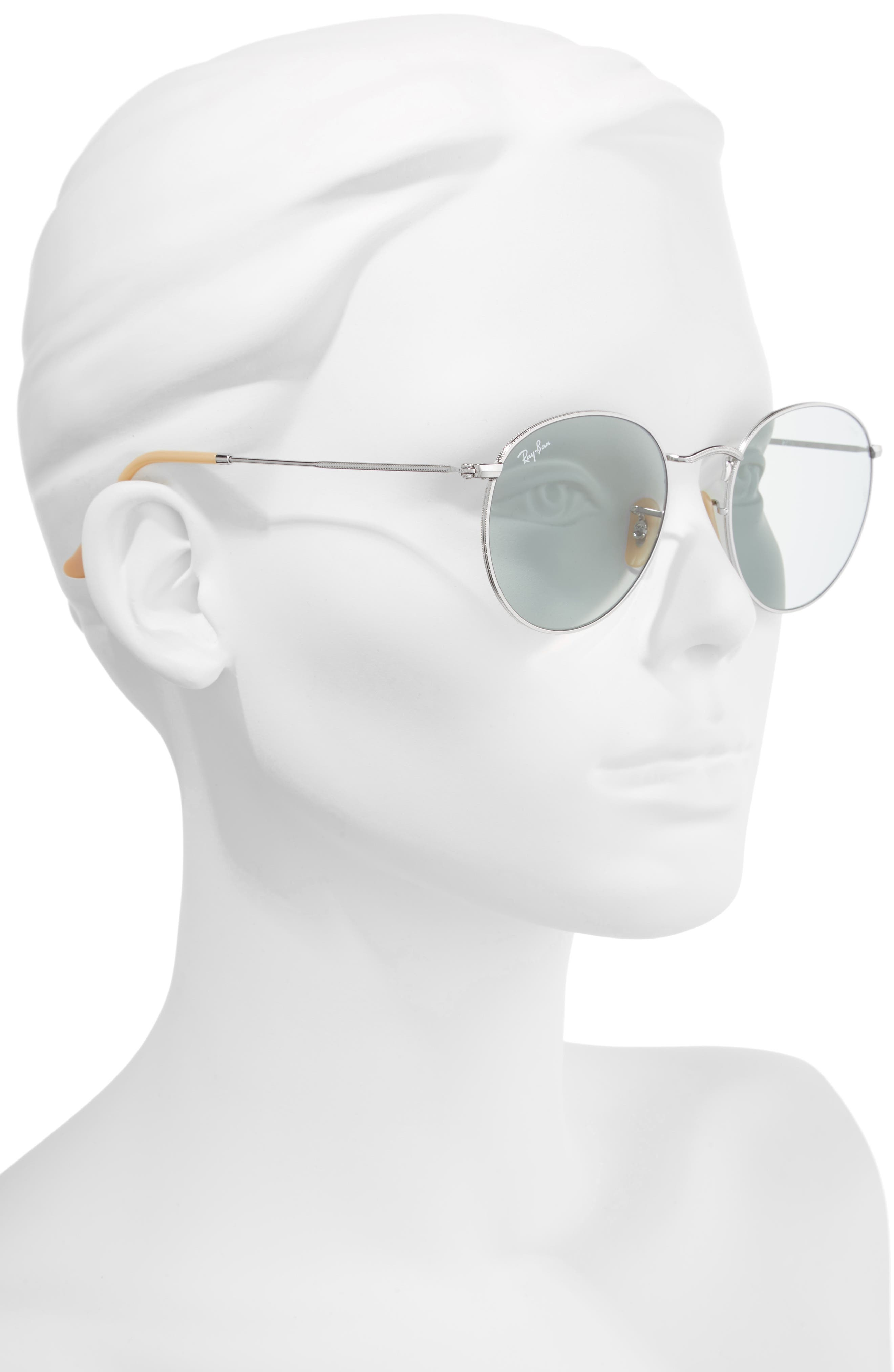 53mm Polarized Round Sunglasses,                             Alternate thumbnail 2, color,                             Silver Blue