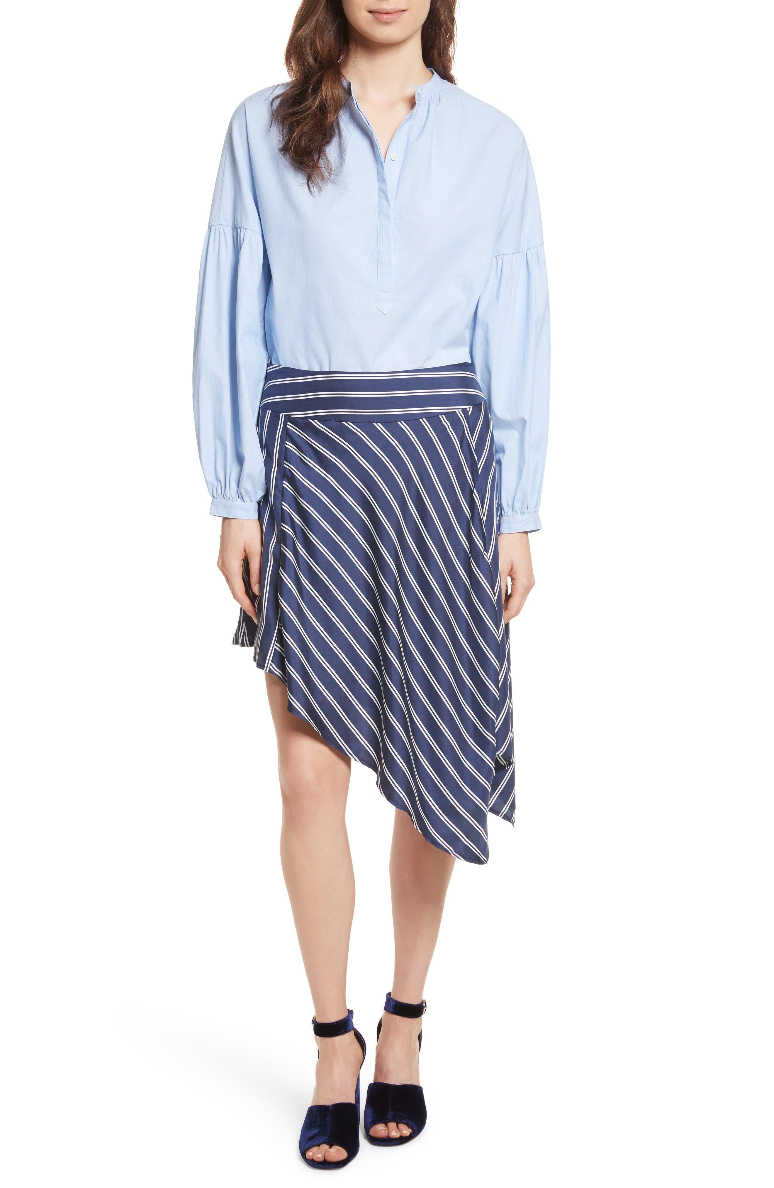 Adelpha Stripe Silk Skirt,                             Alternate thumbnail 8, color,                             Dark Navy