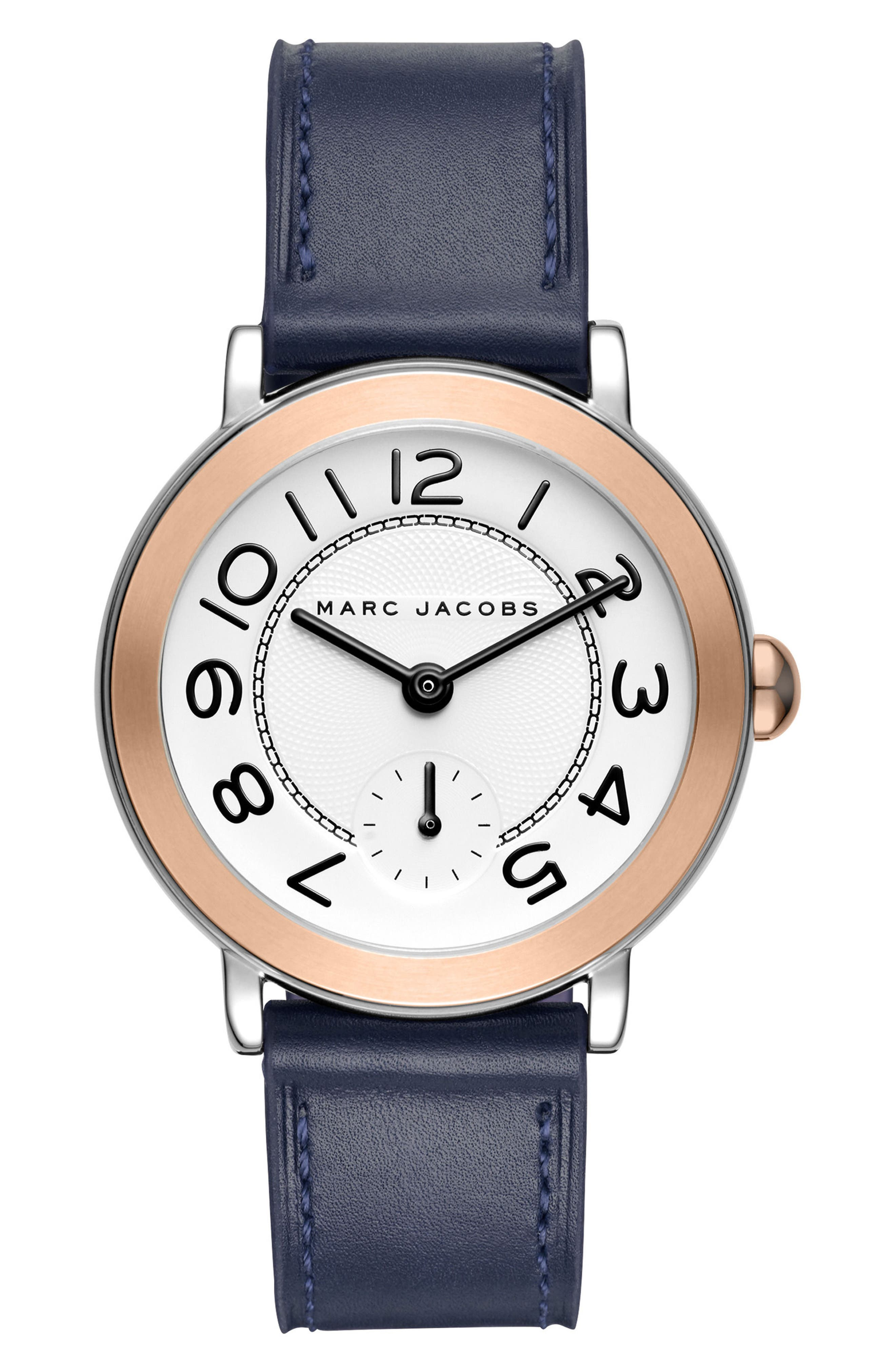 Riley Leather Strap Watch, 36mm,                         Main,                         color, Blue/ White/ Rose Gold