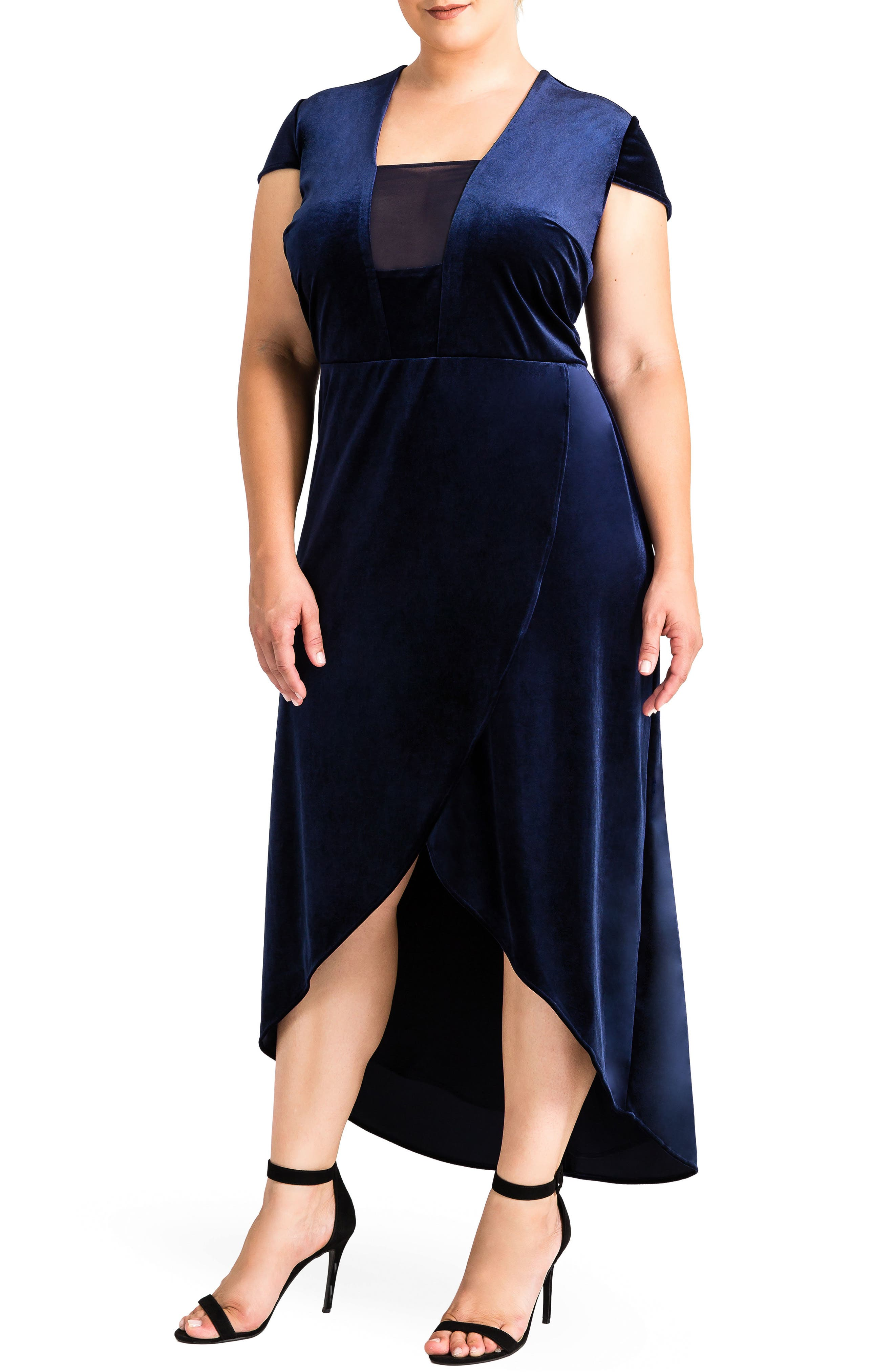 Luna Velvet Dress,                             Main thumbnail 1, color,                             Midnight Blue