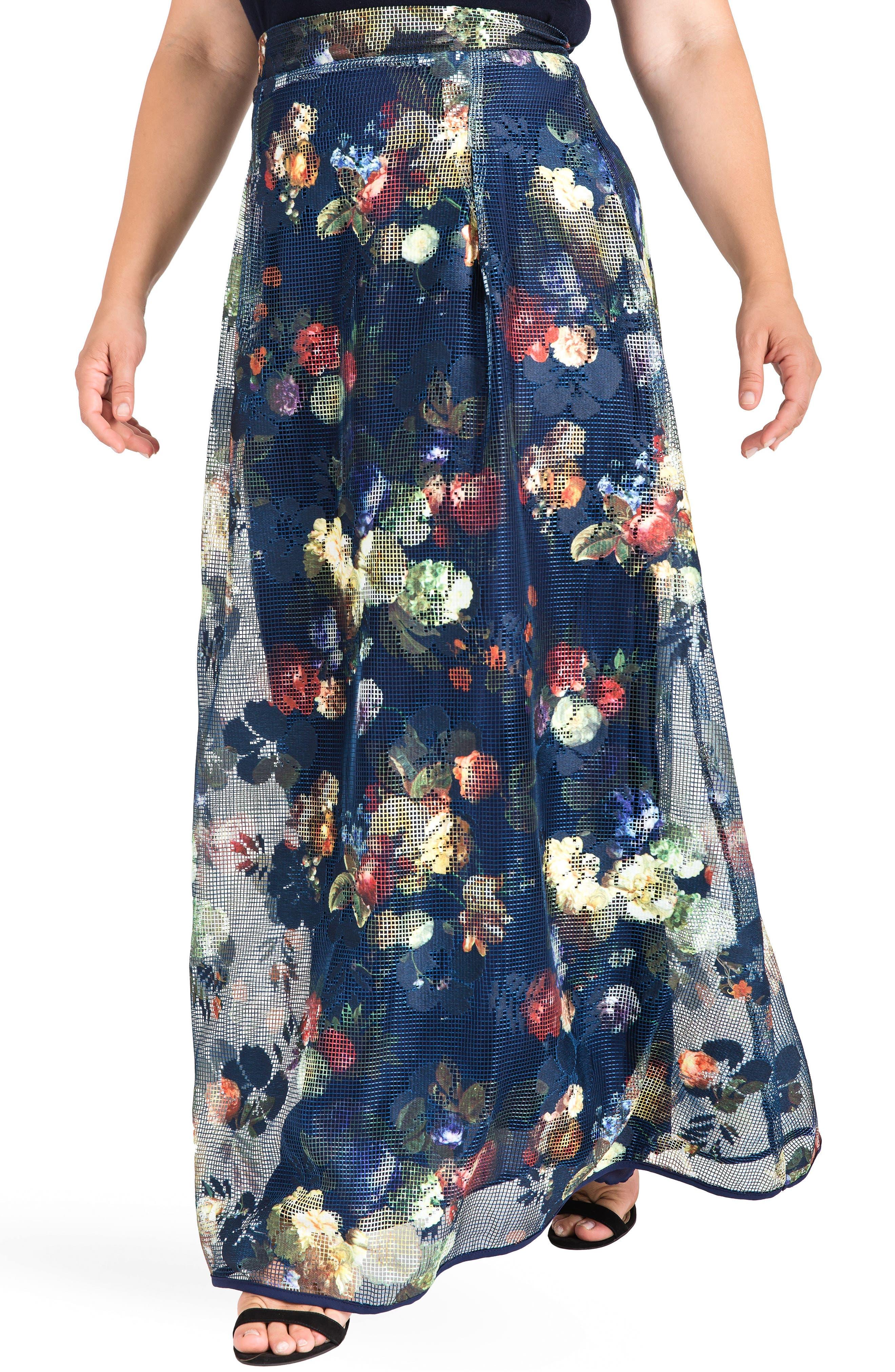 Iris Floral Mesh Maxi Skirt,                             Alternate thumbnail 4, color,                             Navy Floral