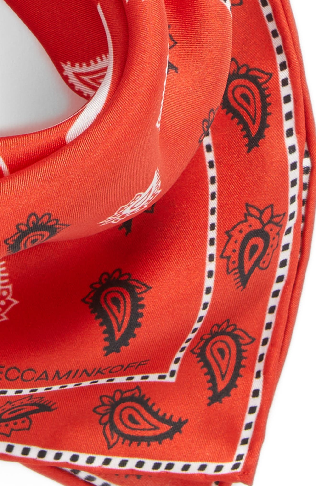 Vertical Paisley Silk Bandana,                             Alternate thumbnail 4, color,                             Poppy Red