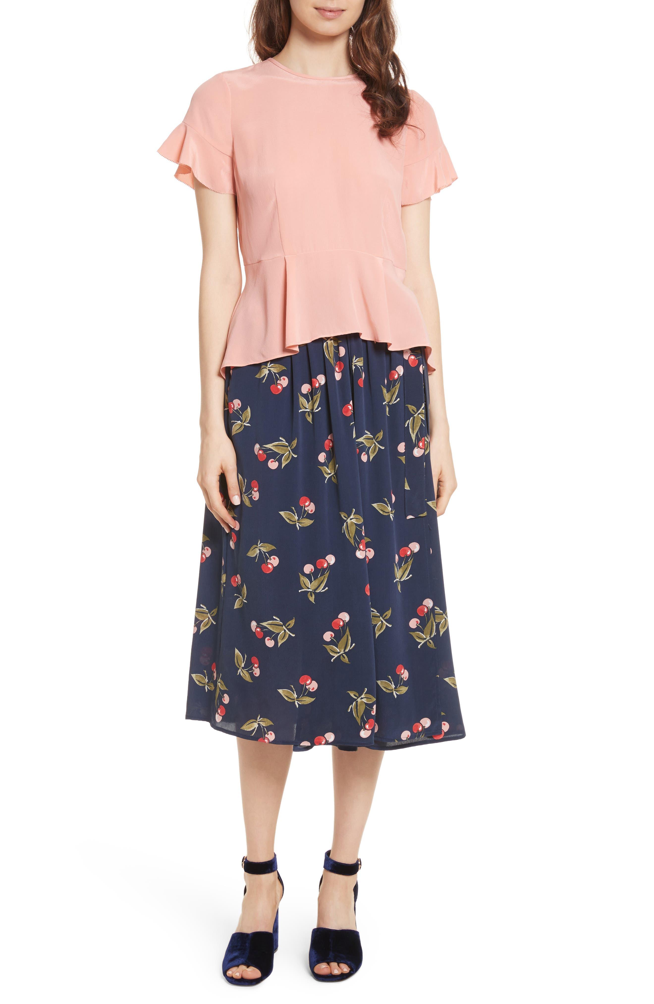 Almudena Cherry Print Silk Wrap Skirt,                             Alternate thumbnail 7, color,                             Dark Navy