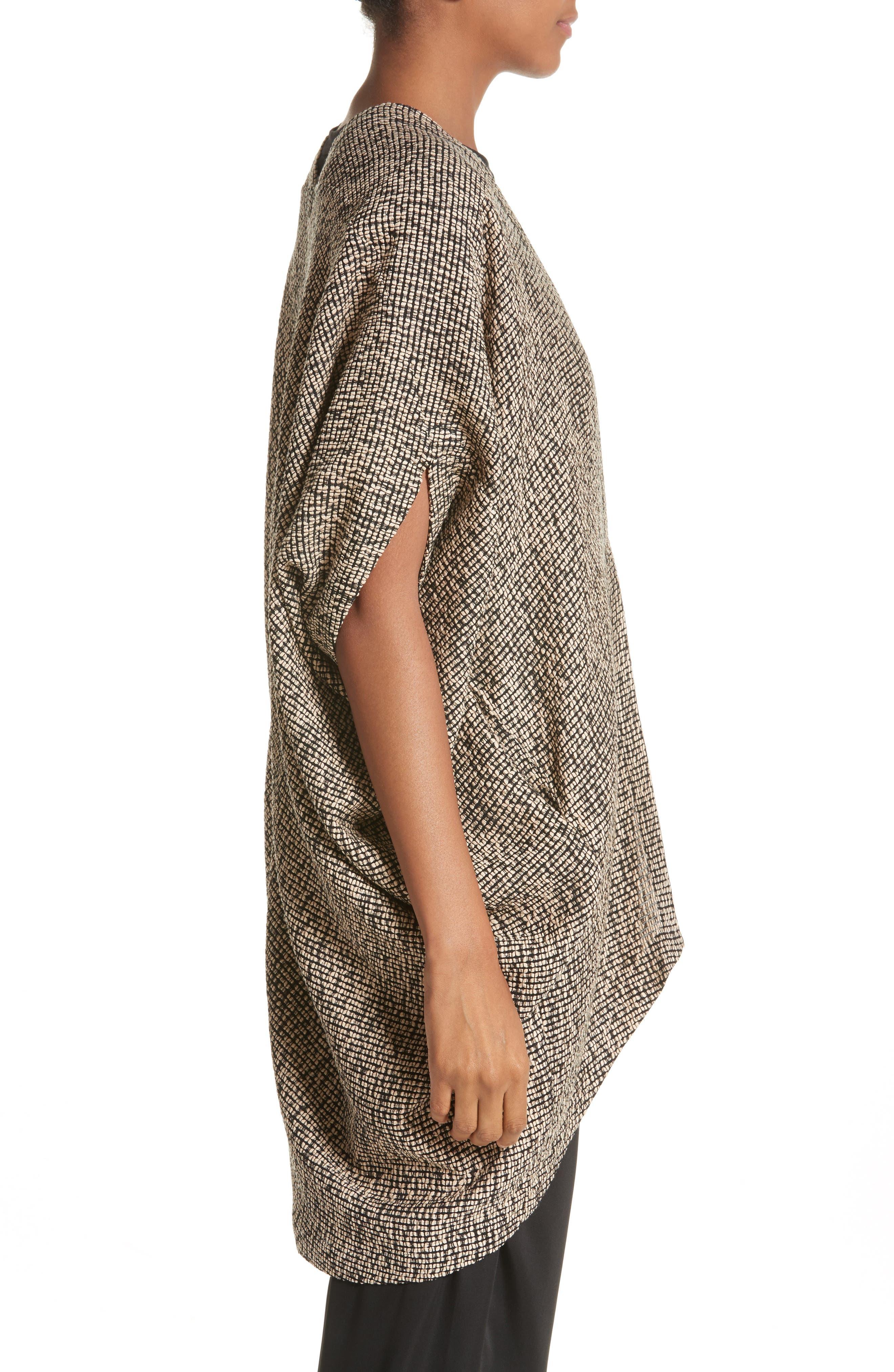 Open Weave Sweater,                             Alternate thumbnail 4, color,                             Black/Greige