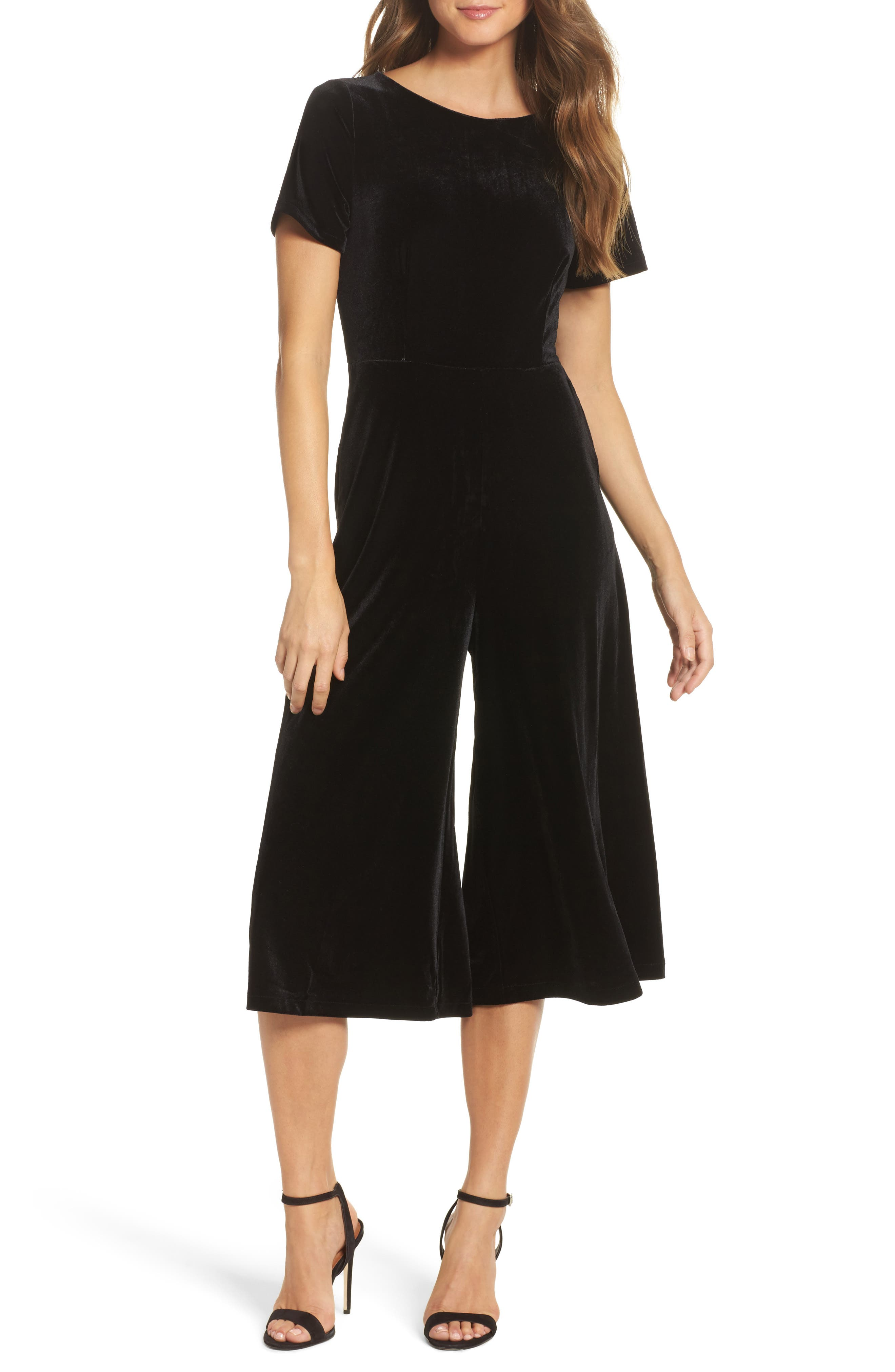 Aurore Velvet Culotte Jumpsuit,                             Main thumbnail 1, color,                             Black
