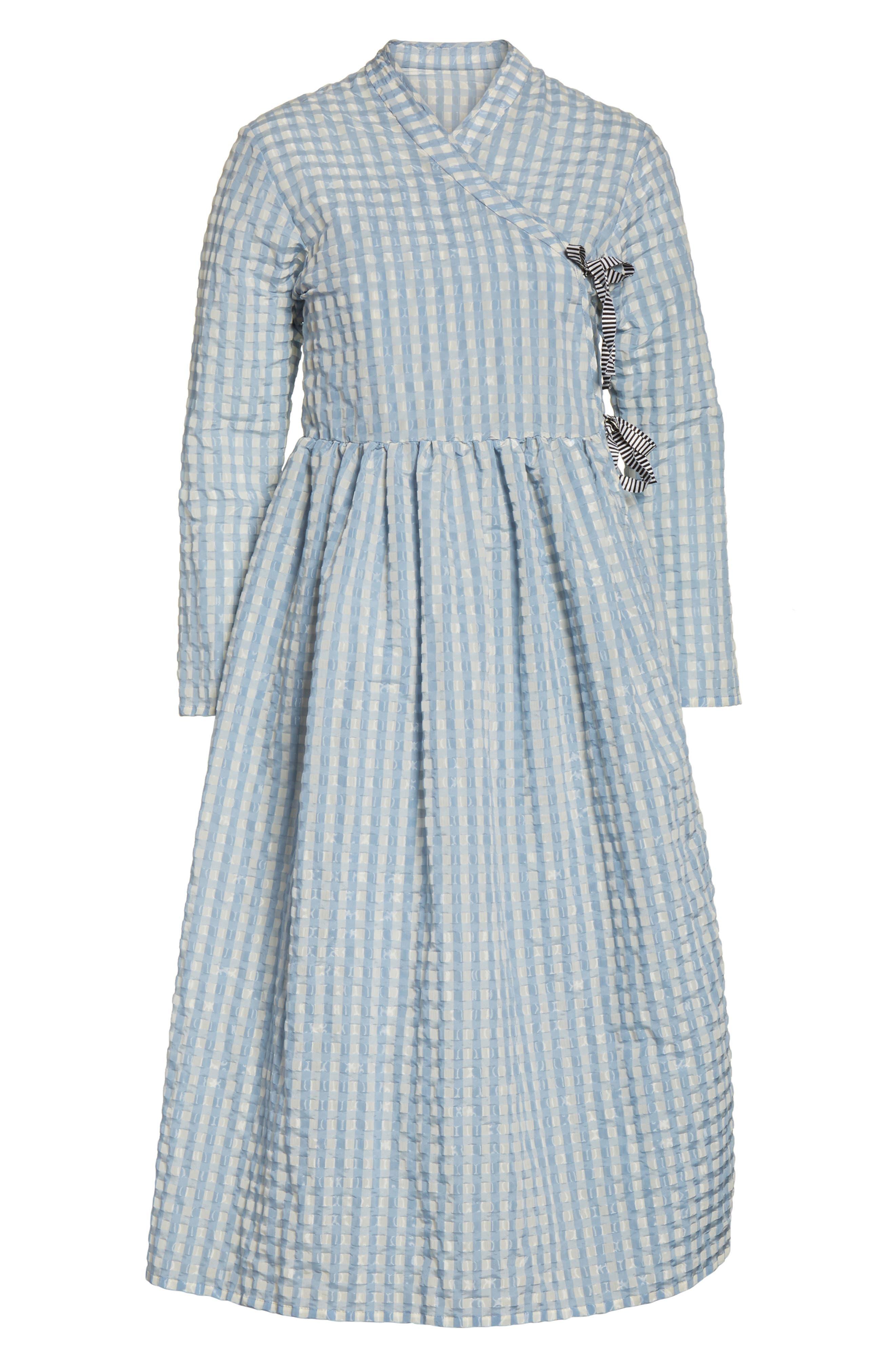Hermione Gingham Seersucker Dress,                             Alternate thumbnail 7, color,                             Blue