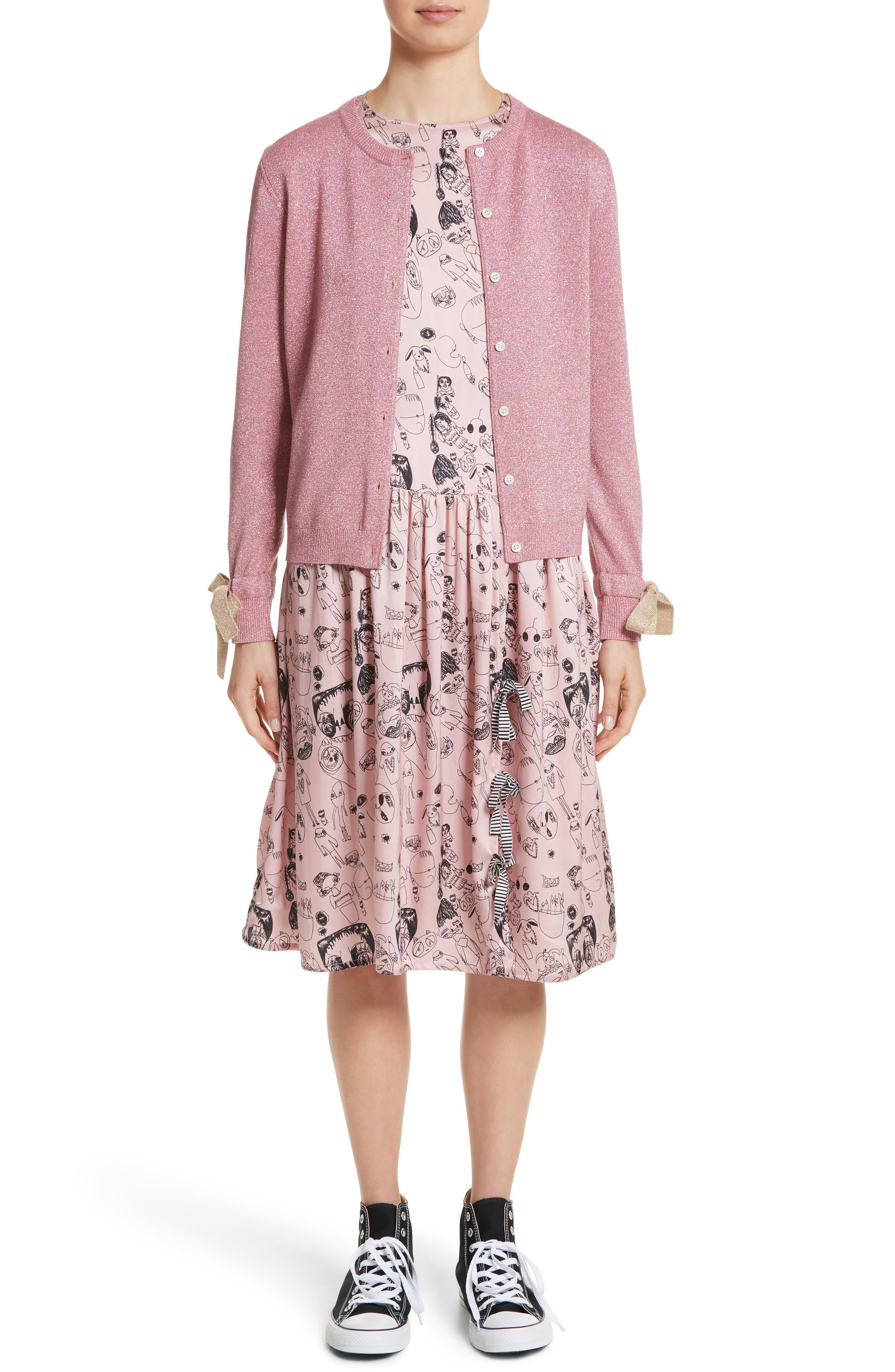 Heather Print Silk Dress,                             Alternate thumbnail 8, color,                             Rosette / Black