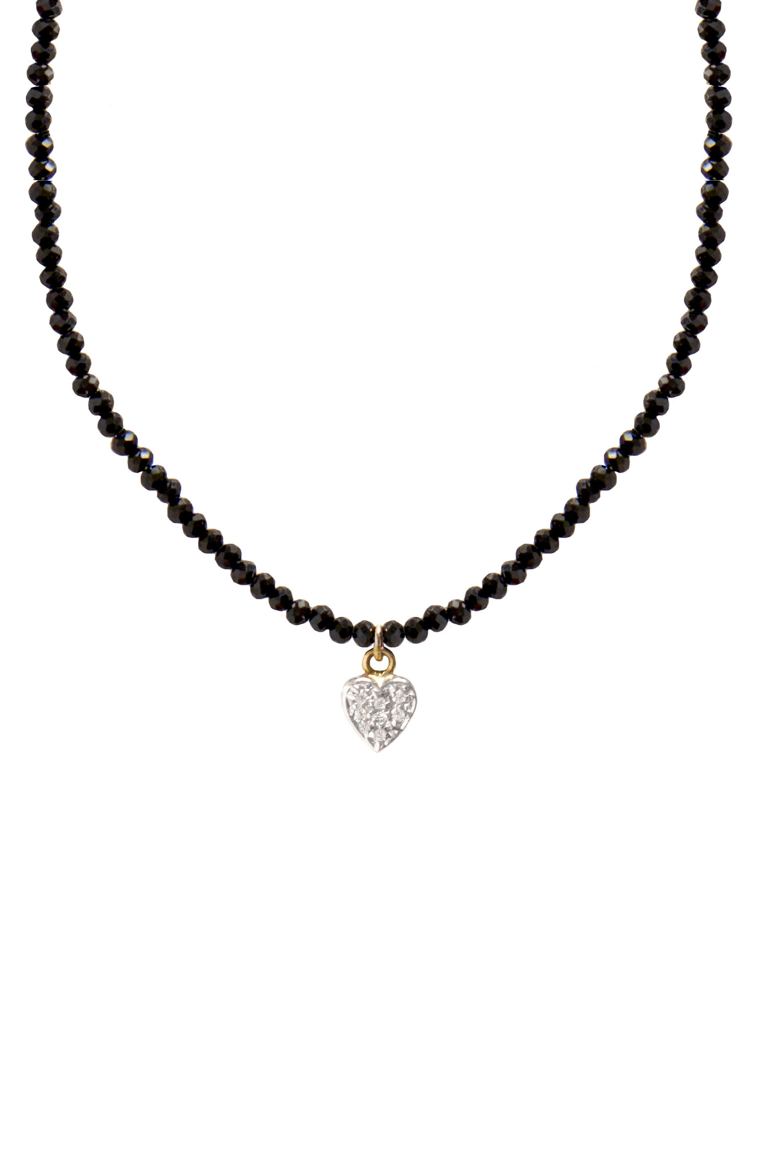 Jane Basch Diamond Star Necklace,                             Main thumbnail 1, color,                             Black Onyx