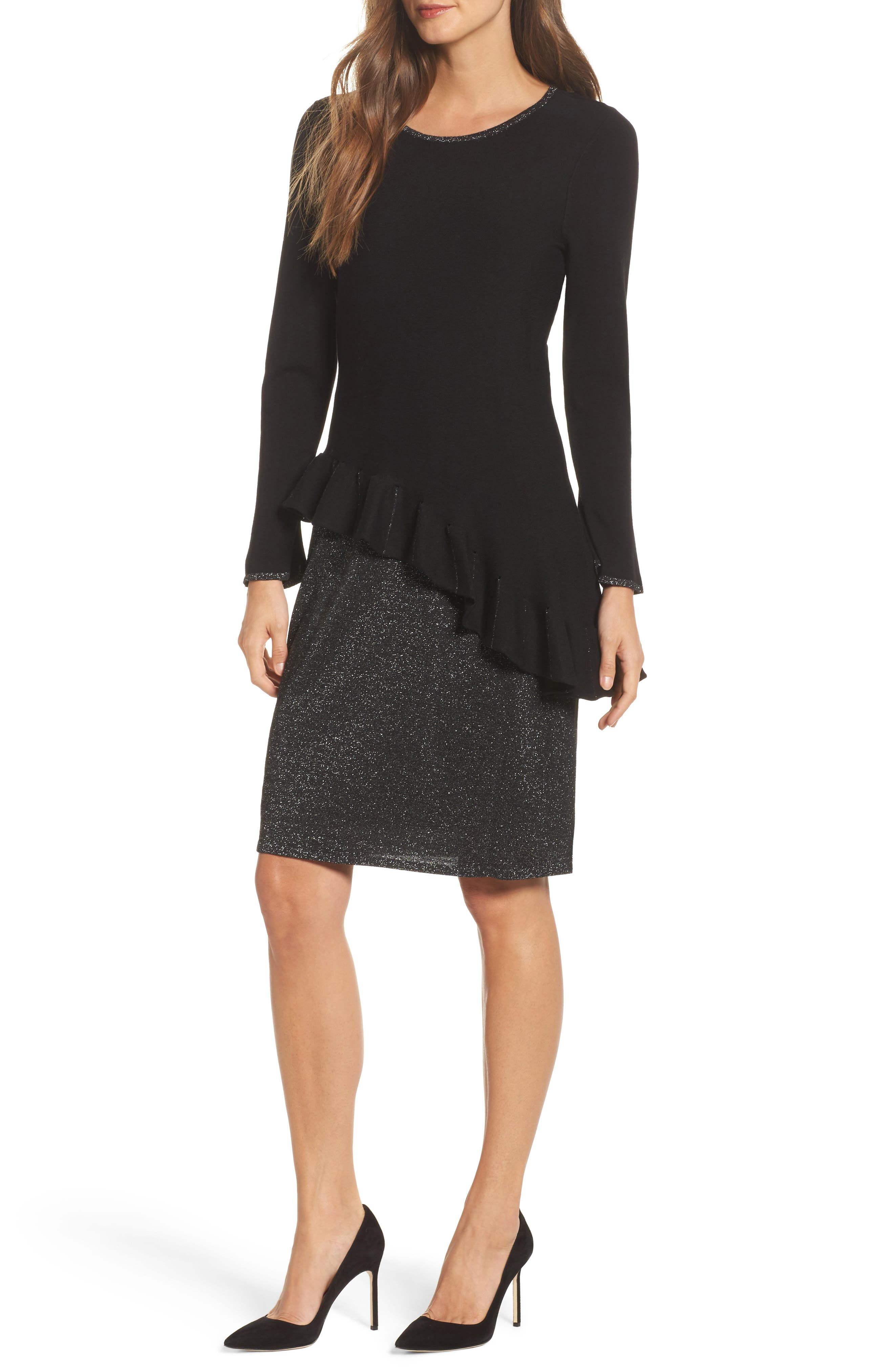 Ruffled Up Two-Piece Dress,                         Main,                         color, Black Onyx