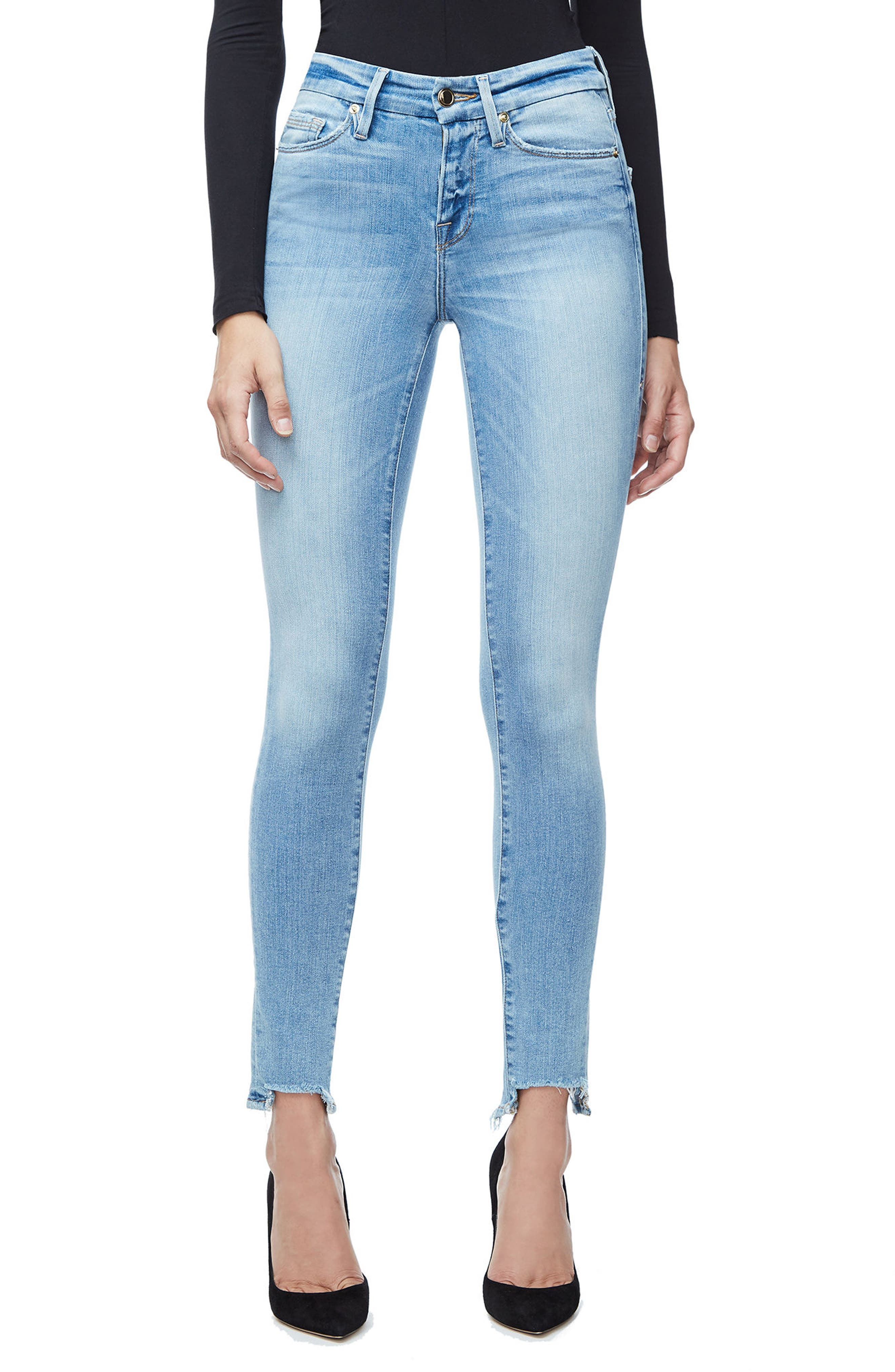 Good American Good Legs High Waist Ankle Skinny Jeans (Blue 105) (Extended Sizes)