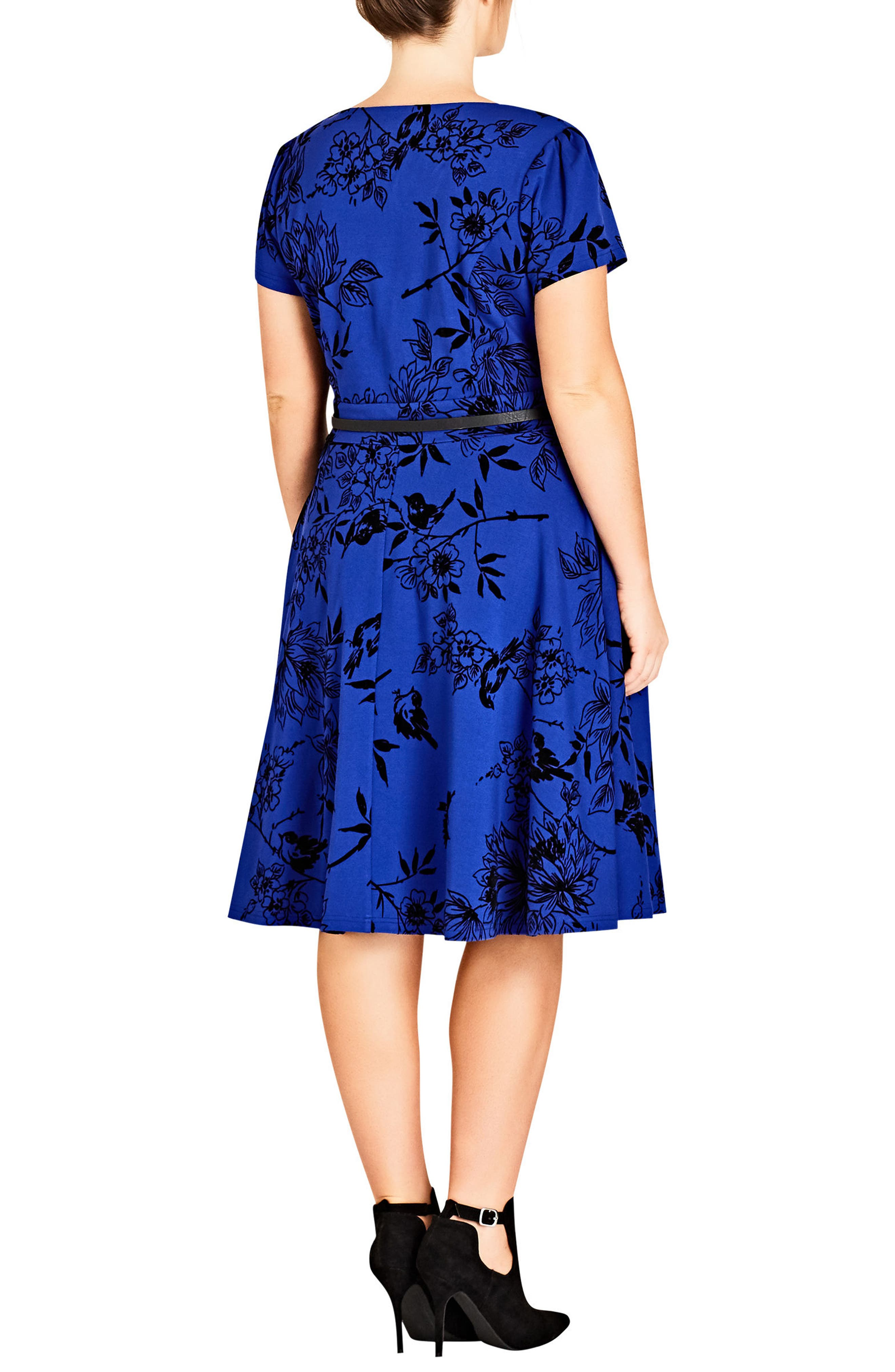 Birdy Flock Fit & Flare Dress,                             Alternate thumbnail 2, color,                             Pool