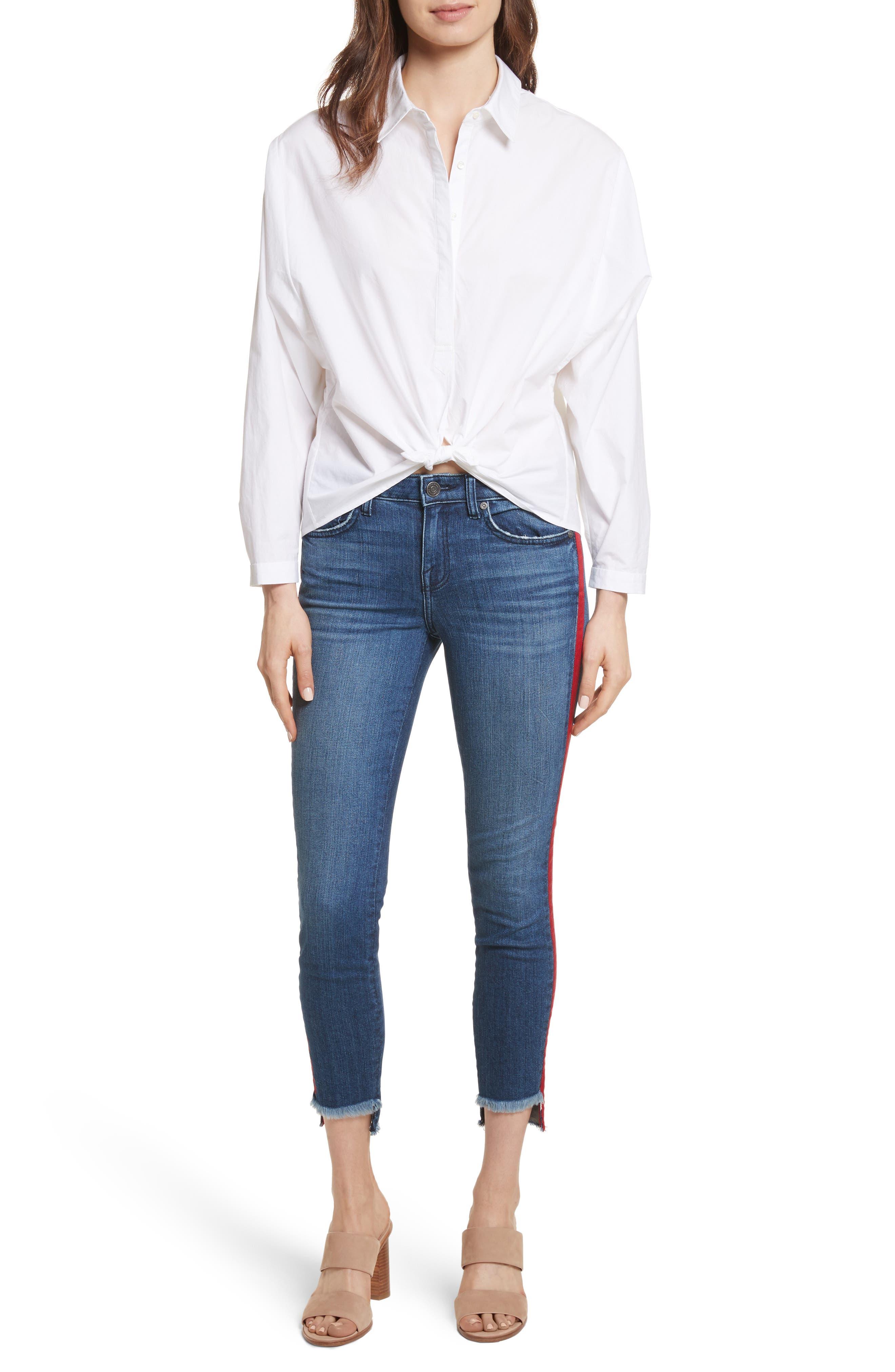 Anjanique B Button Down Cotton Shirt,                             Alternate thumbnail 7, color,                             Clean White