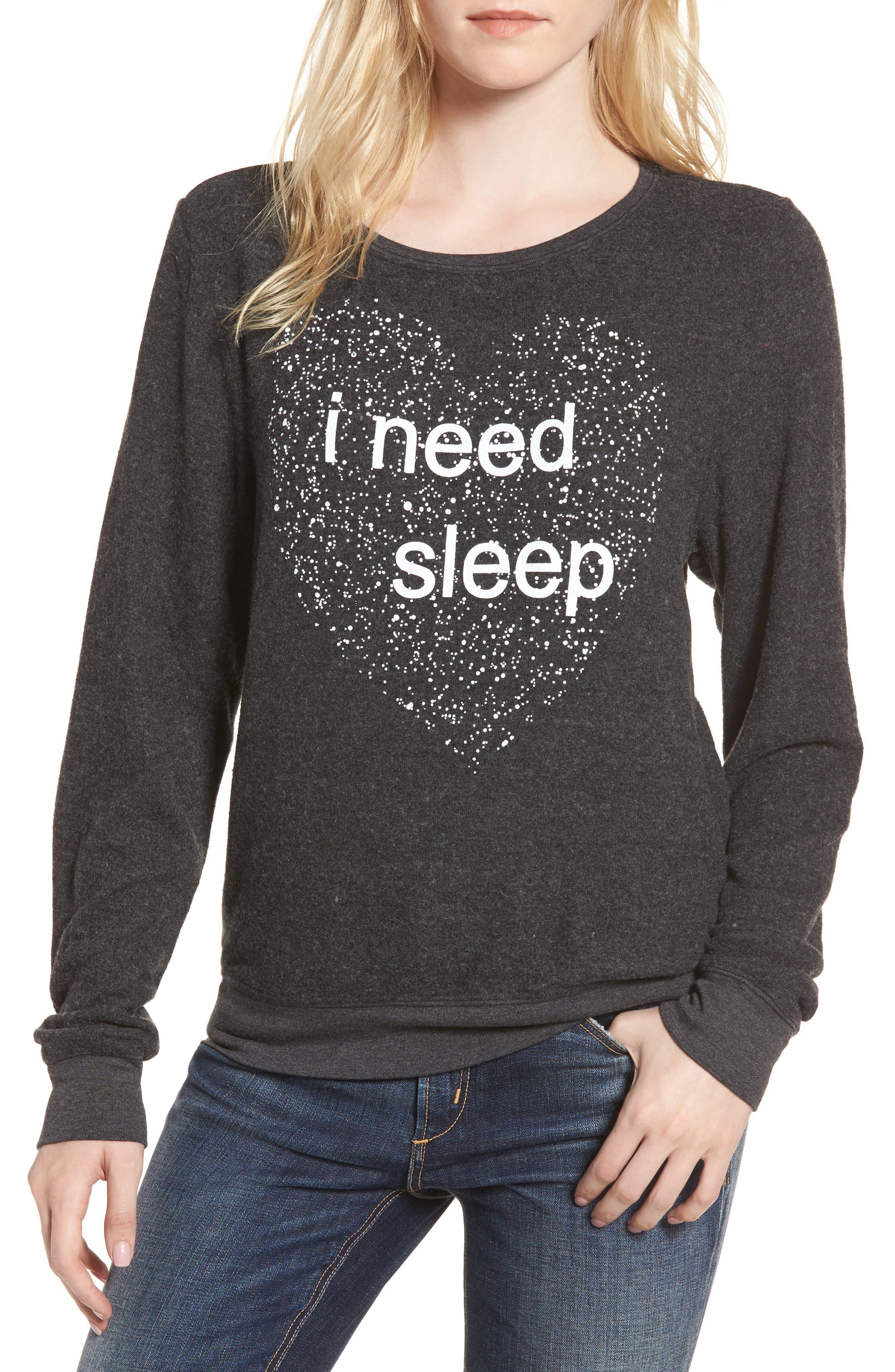 I Need Sleep Sweatshirt,                         Main,                         color, Clean Black