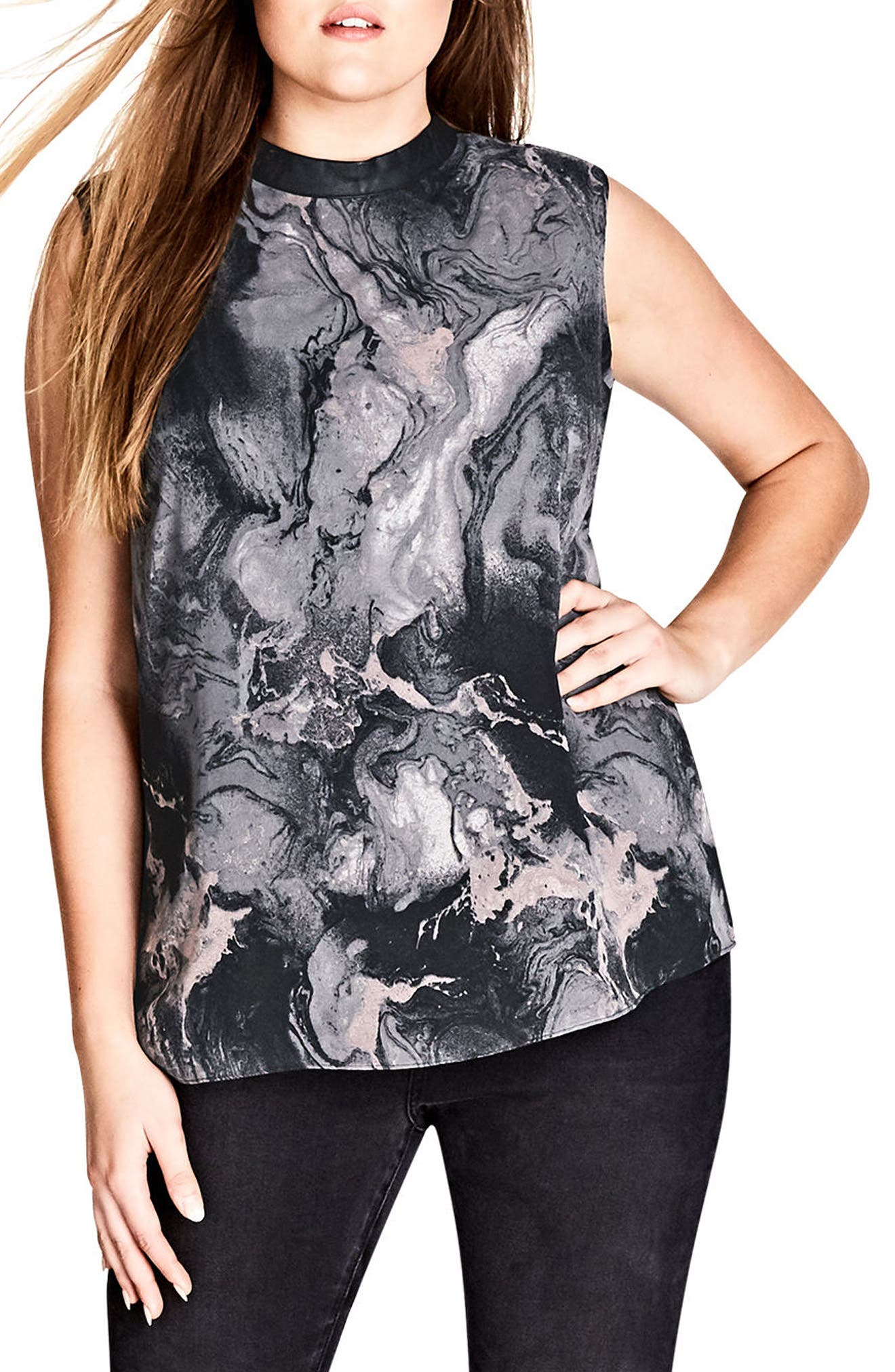 Alternate Image 1 Selected - City Chic Marble Print Top (Plus Size)