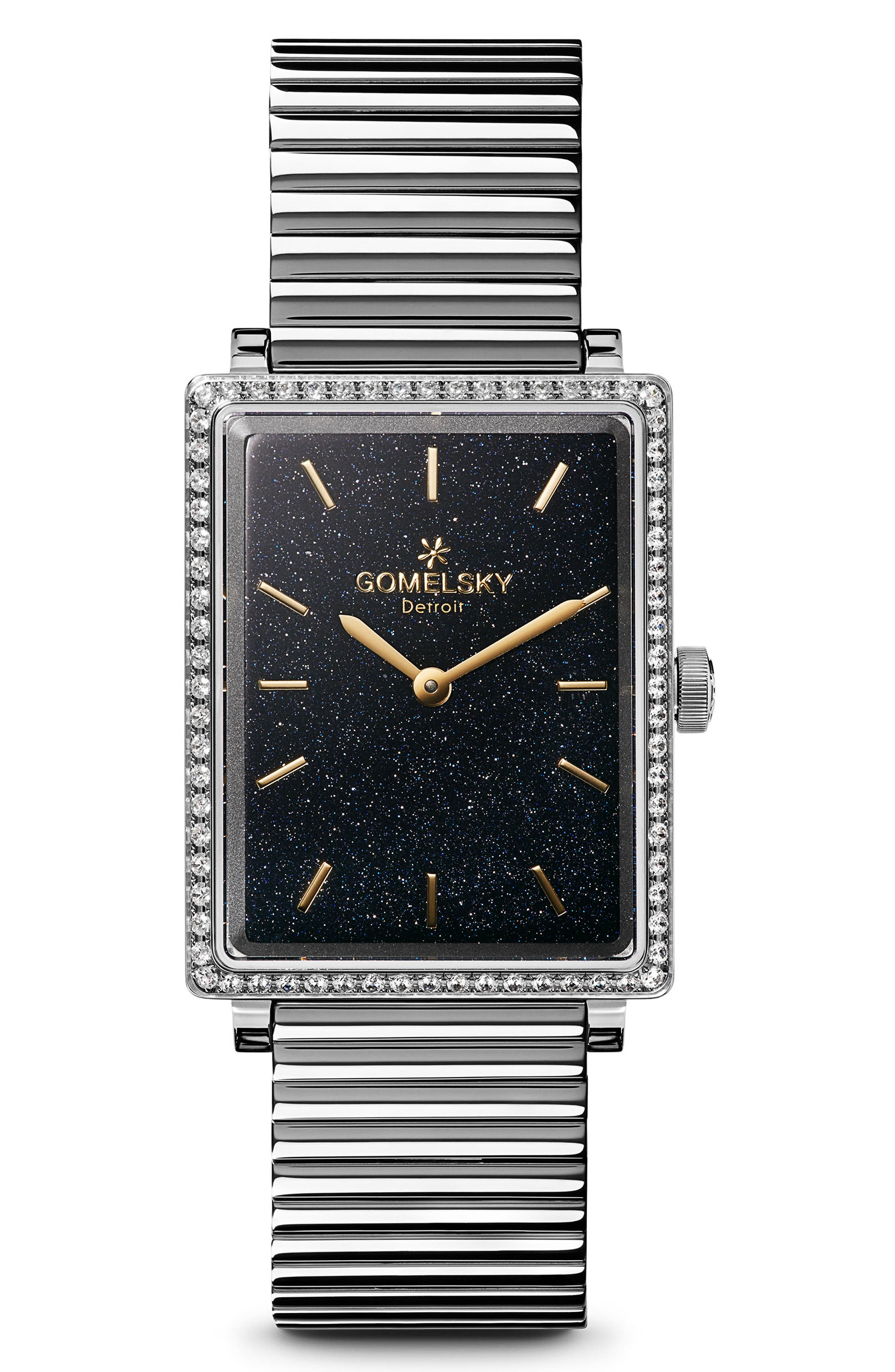 The Shirley Fromer Diamond Bracelet Watch, 32mm x 25mm,                             Main thumbnail 1, color,                             Silver/ Sandstone/ Silver
