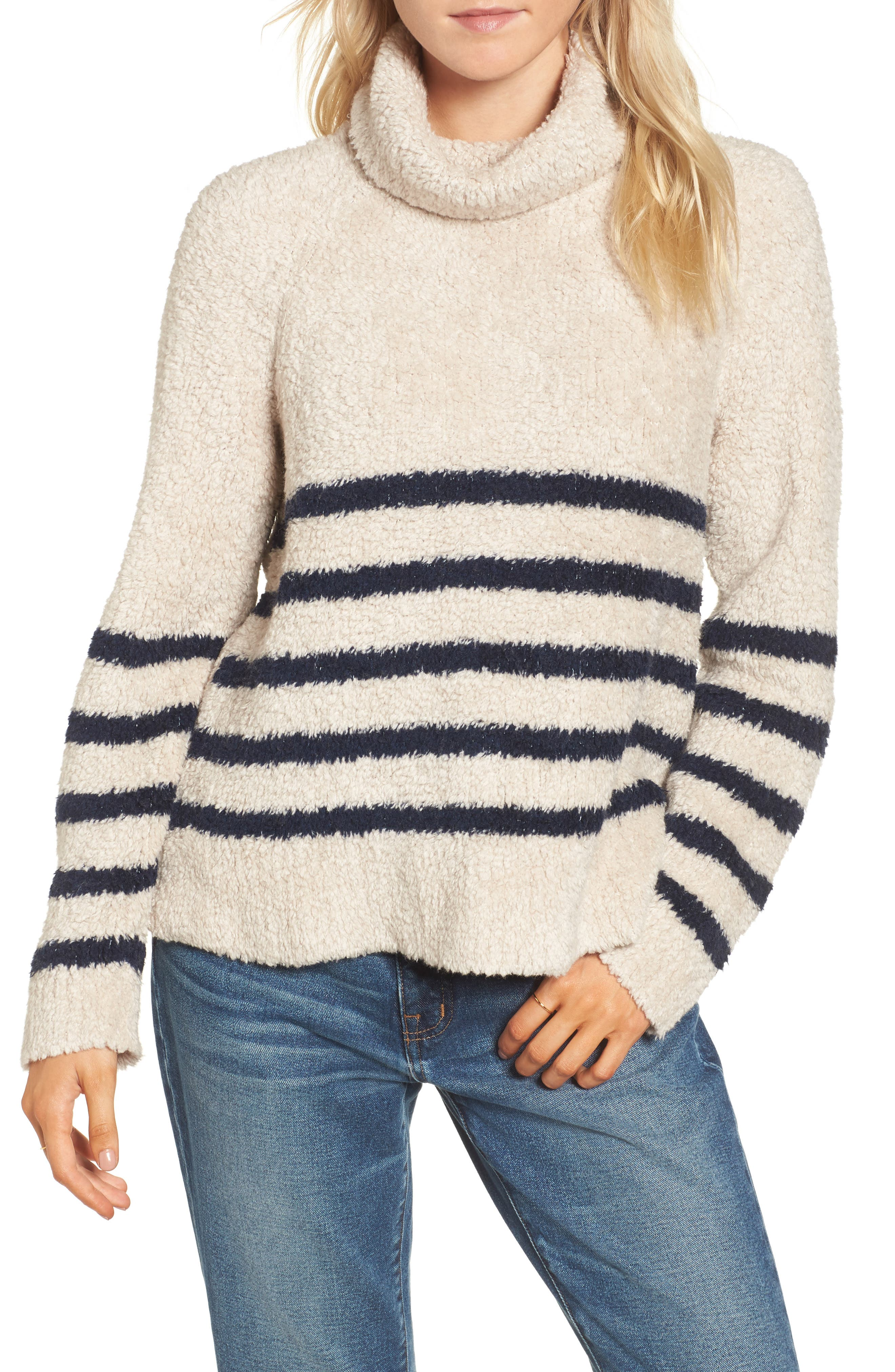Mariner Stripe Turtleneck Sweater,                             Main thumbnail 1, color,                             Cloud Lining