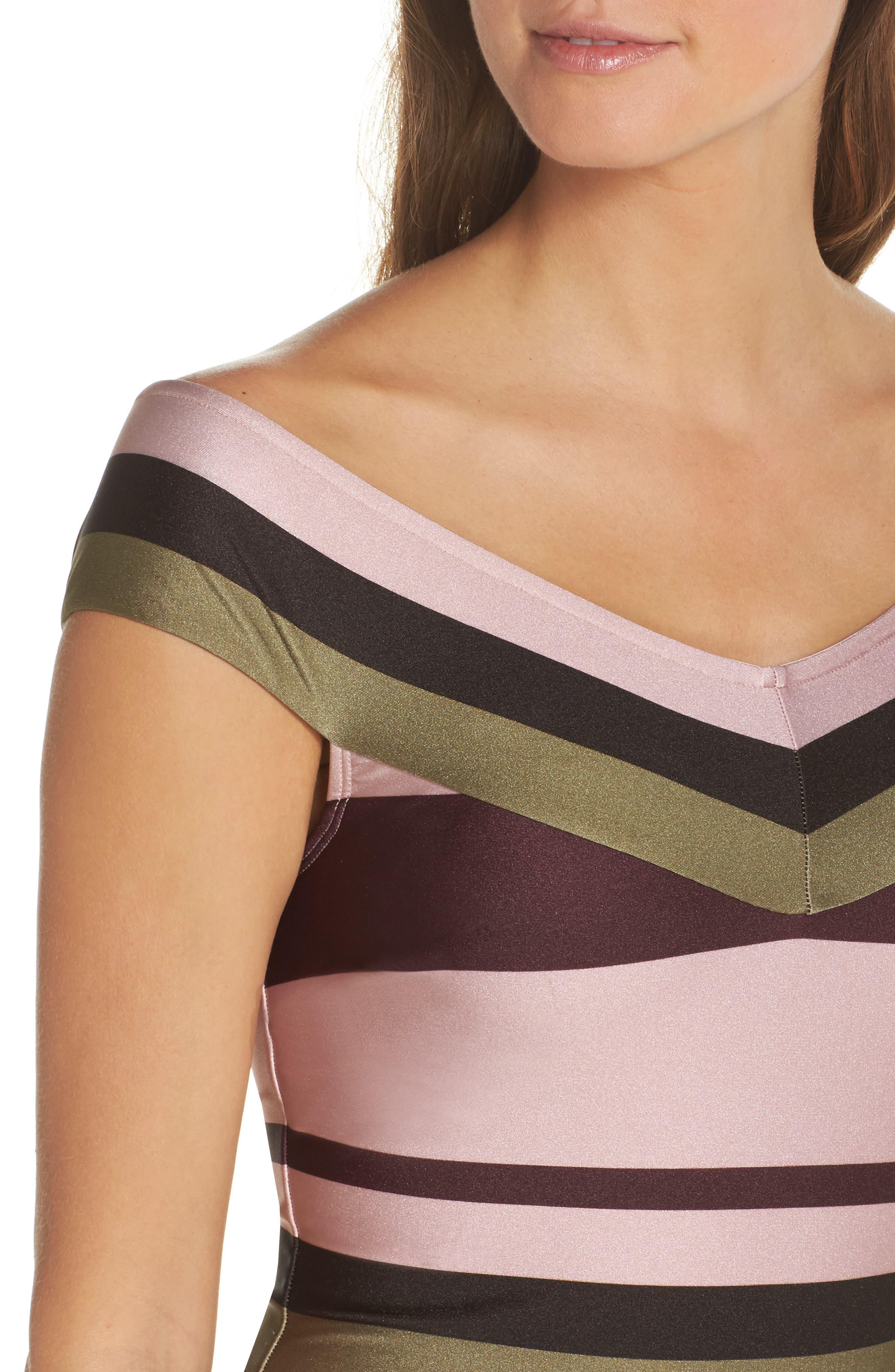 Imperial Stripe Bardot One-Piece Swimsuit,                             Alternate thumbnail 4, color,                             Dusky Pink