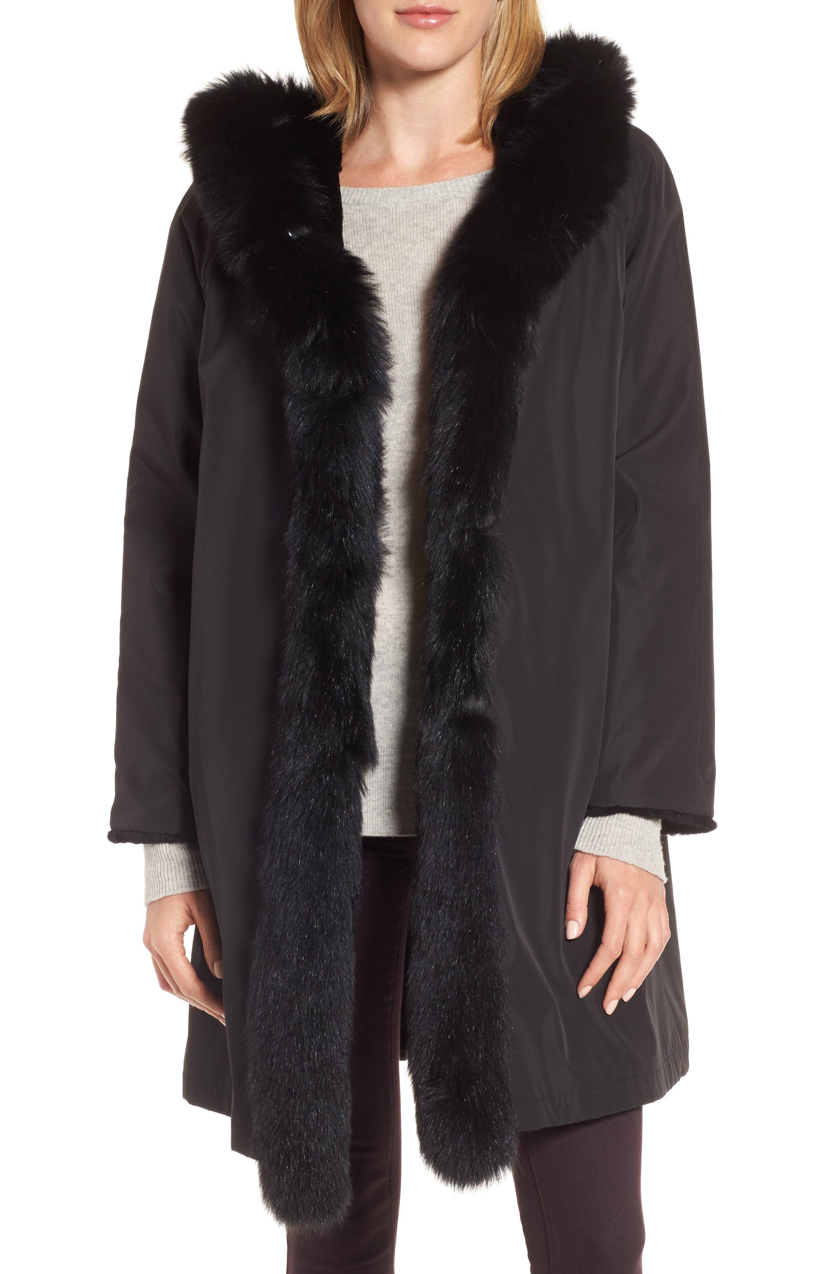 Hooded Reversible Genuine Fur Coat,                         Main,                         color, Black
