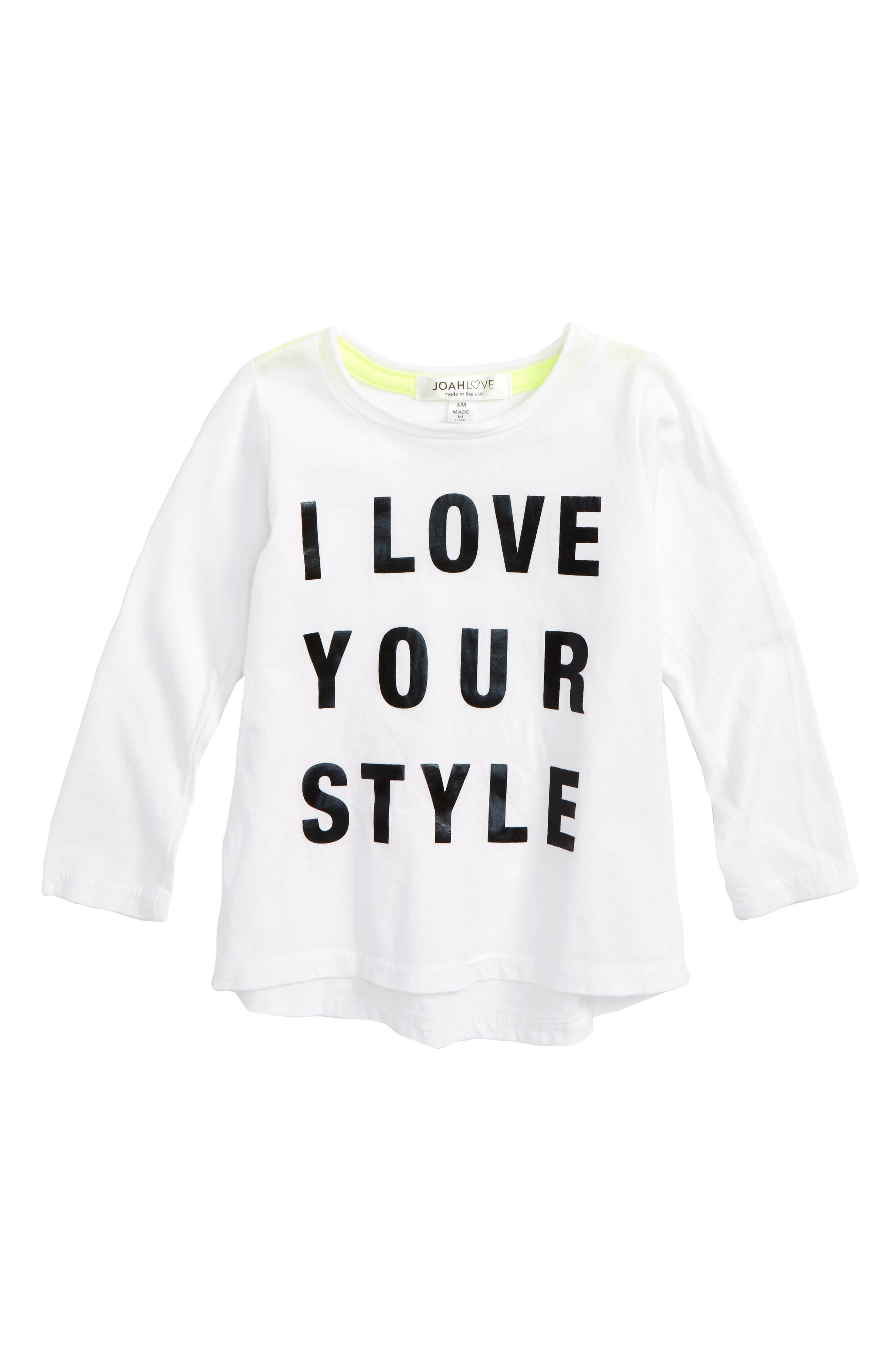 Joah I Love Your Style Graphic Shirt,                             Main thumbnail 1, color,                             White