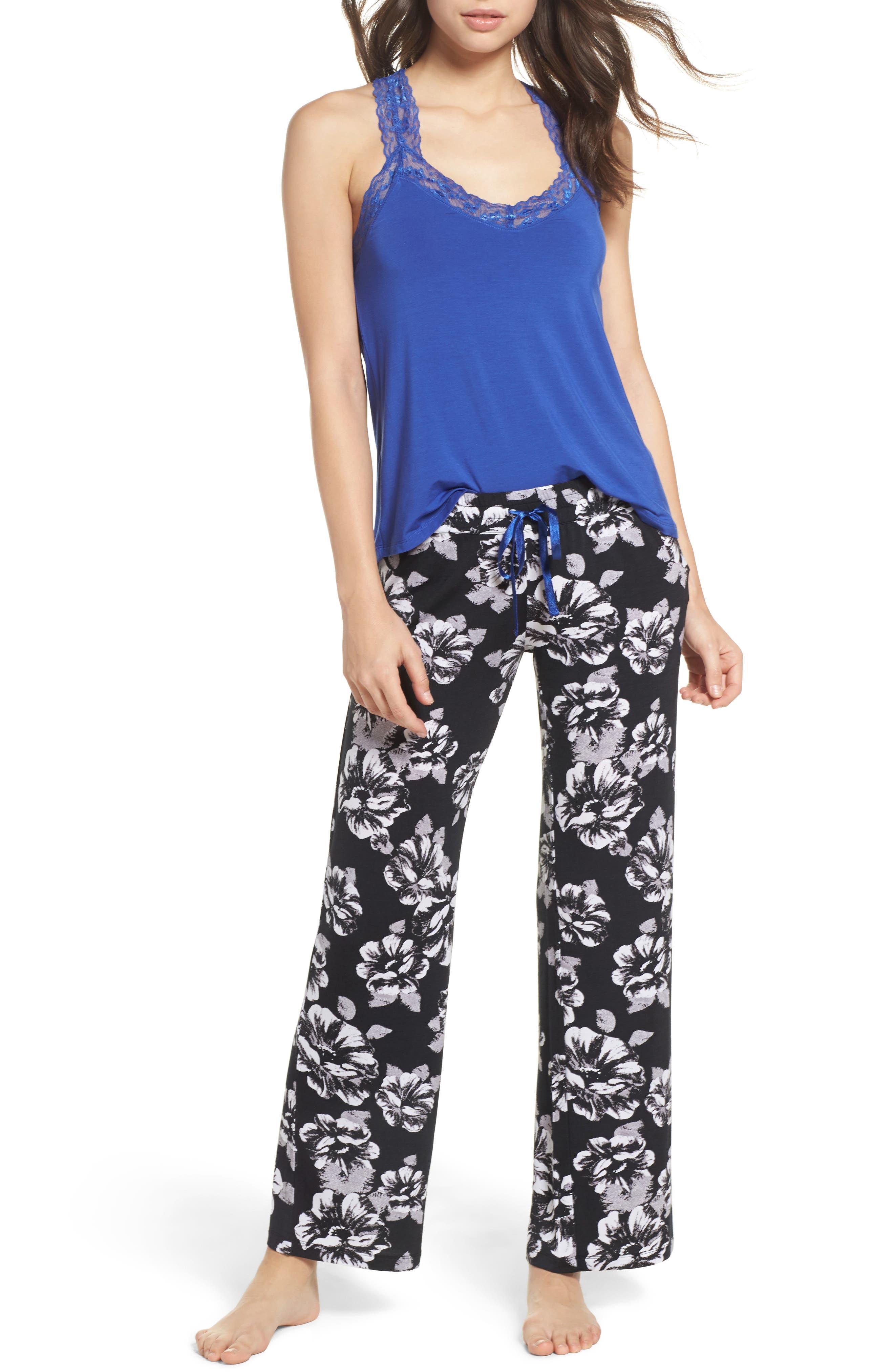 Floral Pajama Pants,                             Alternate thumbnail 6, color,                             Black