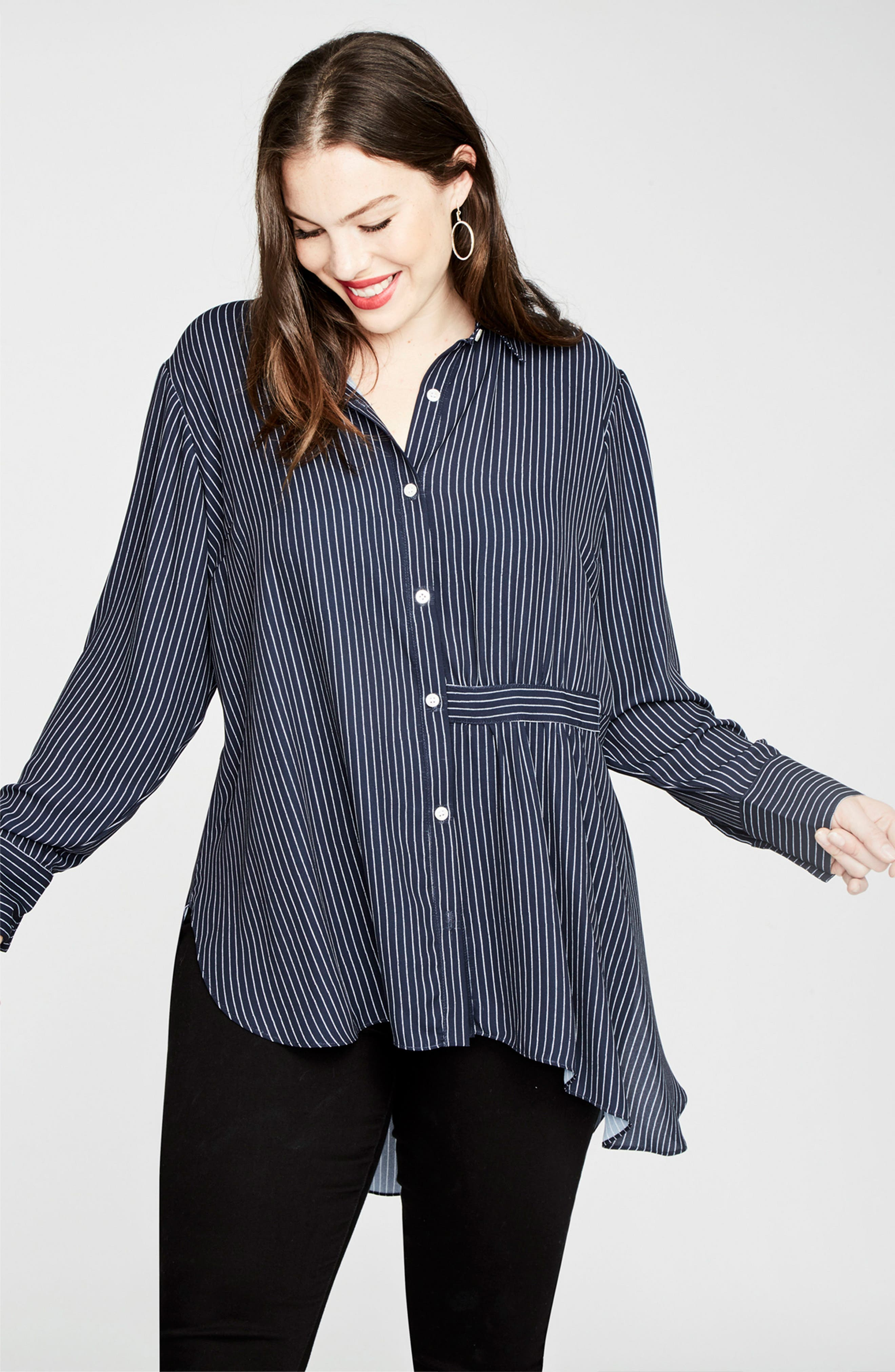 High/Low Pinstripe Shirt,                             Alternate thumbnail 3, color,                             Navy Combo