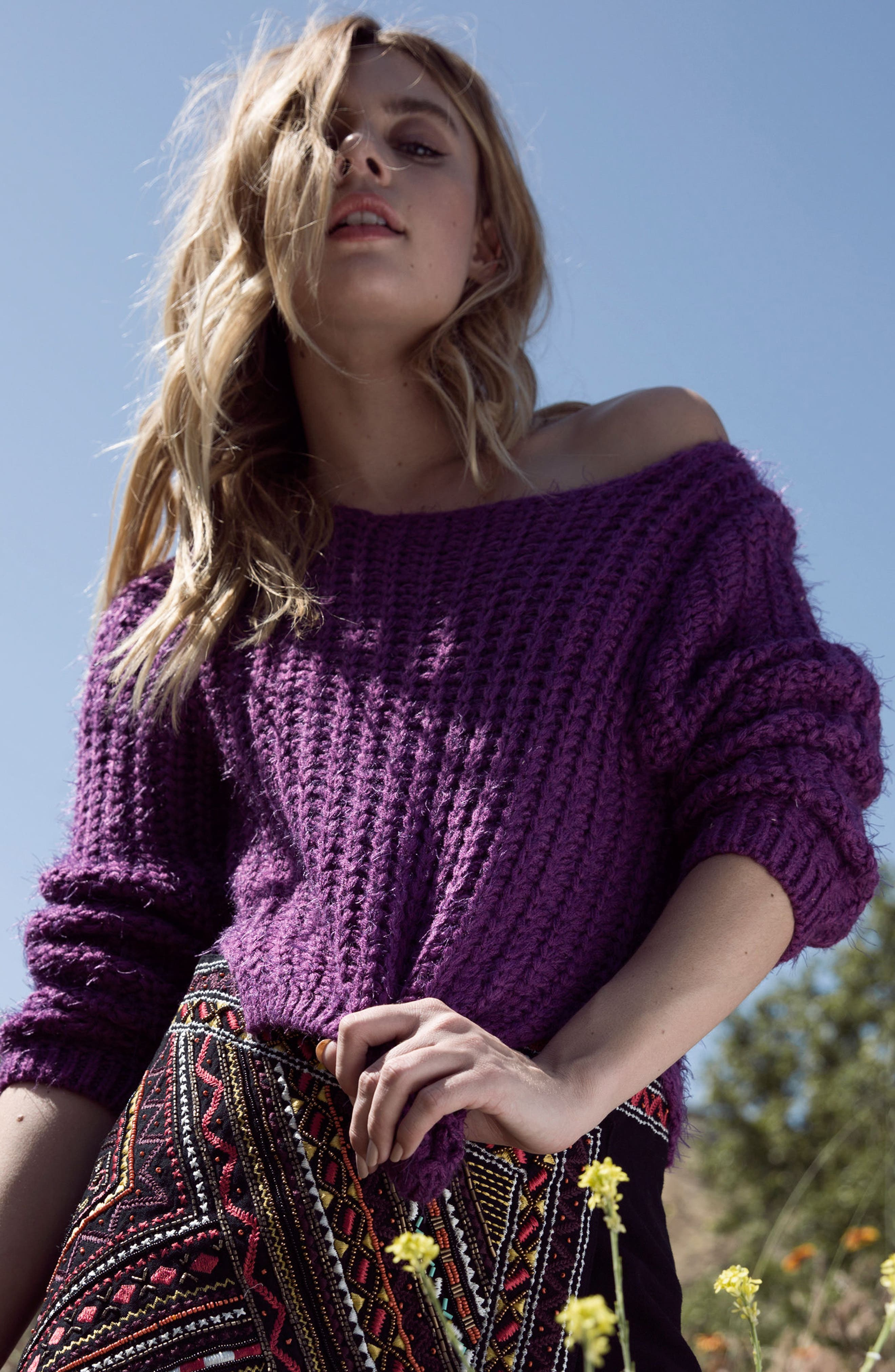 Bethany Crop Sweater,                             Alternate thumbnail 2, color,                             Purple