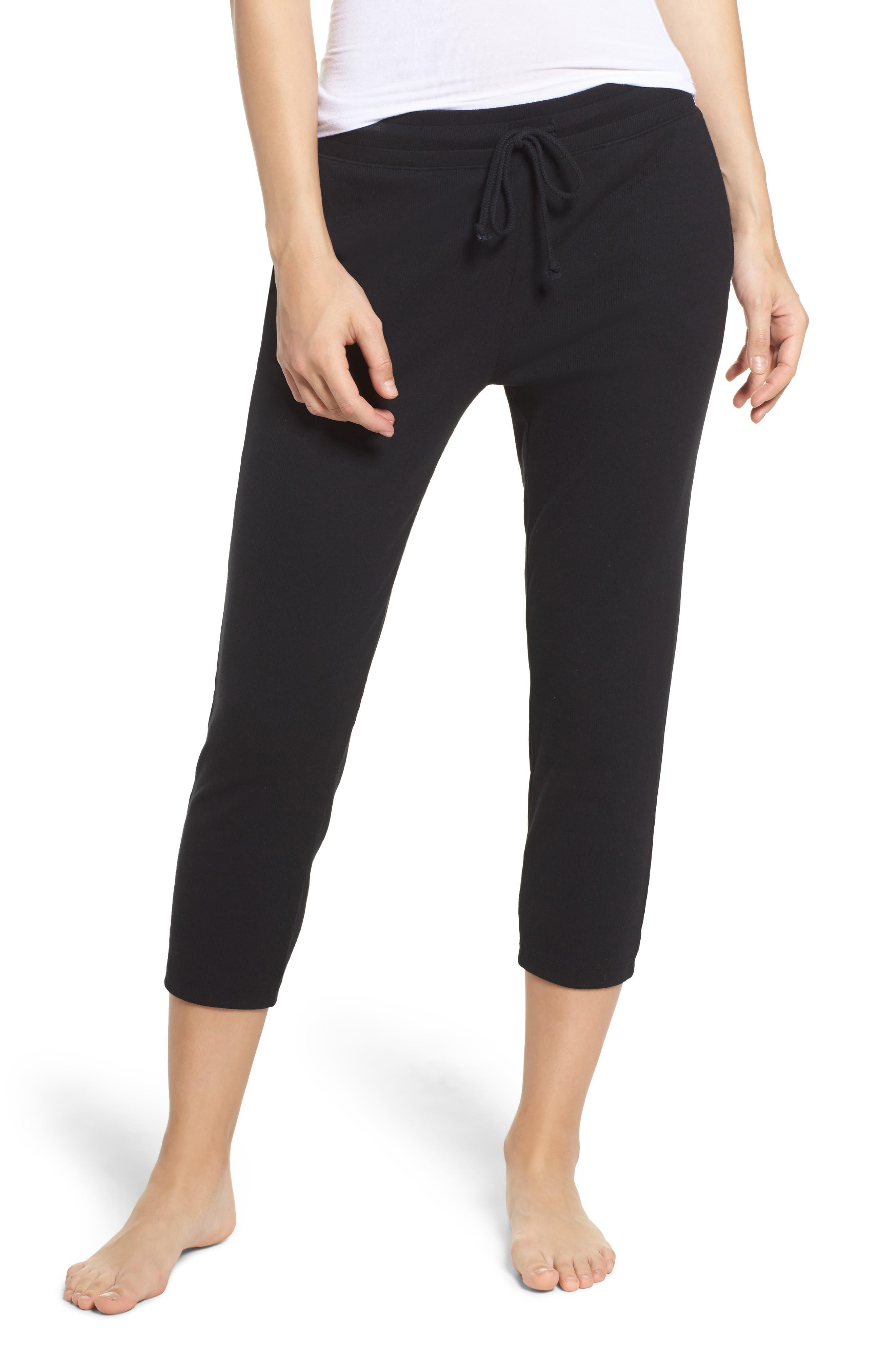 Carmin Crop Lounge Pants,                             Main thumbnail 1, color,                             Black