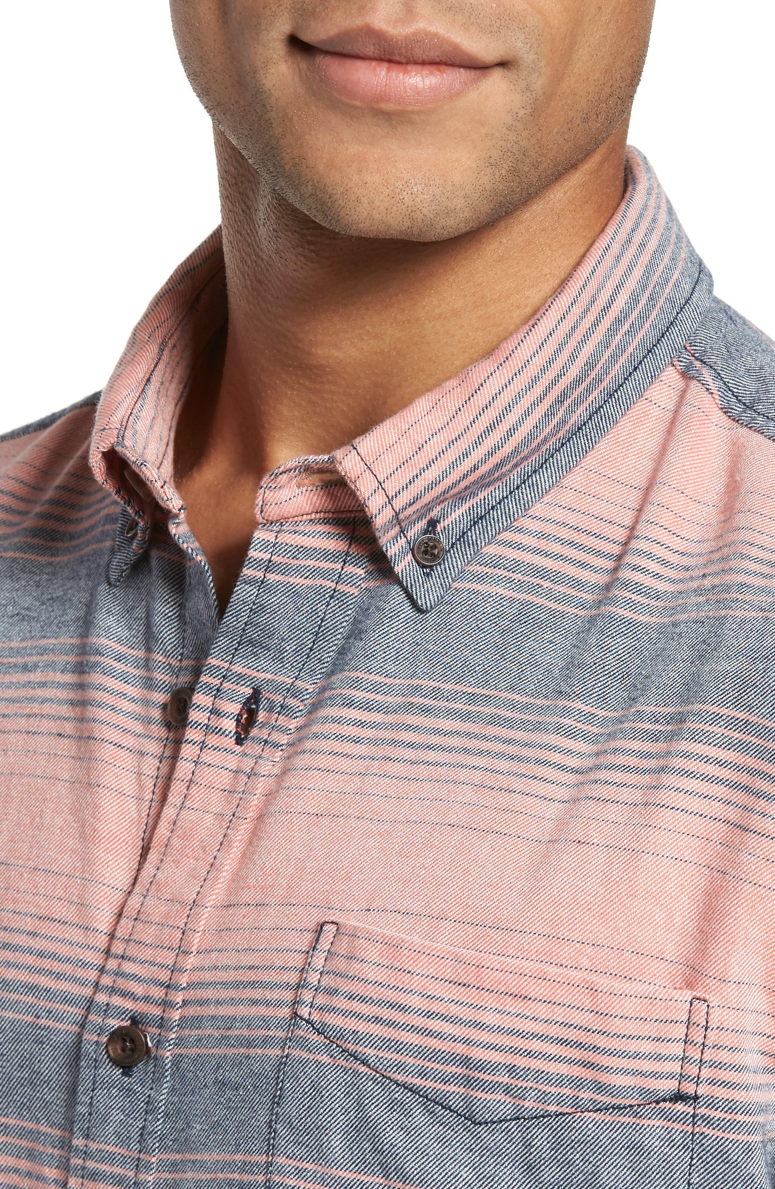 Alternate Image 4  - Surfside Supply Brushed Stripe Sport Shirt