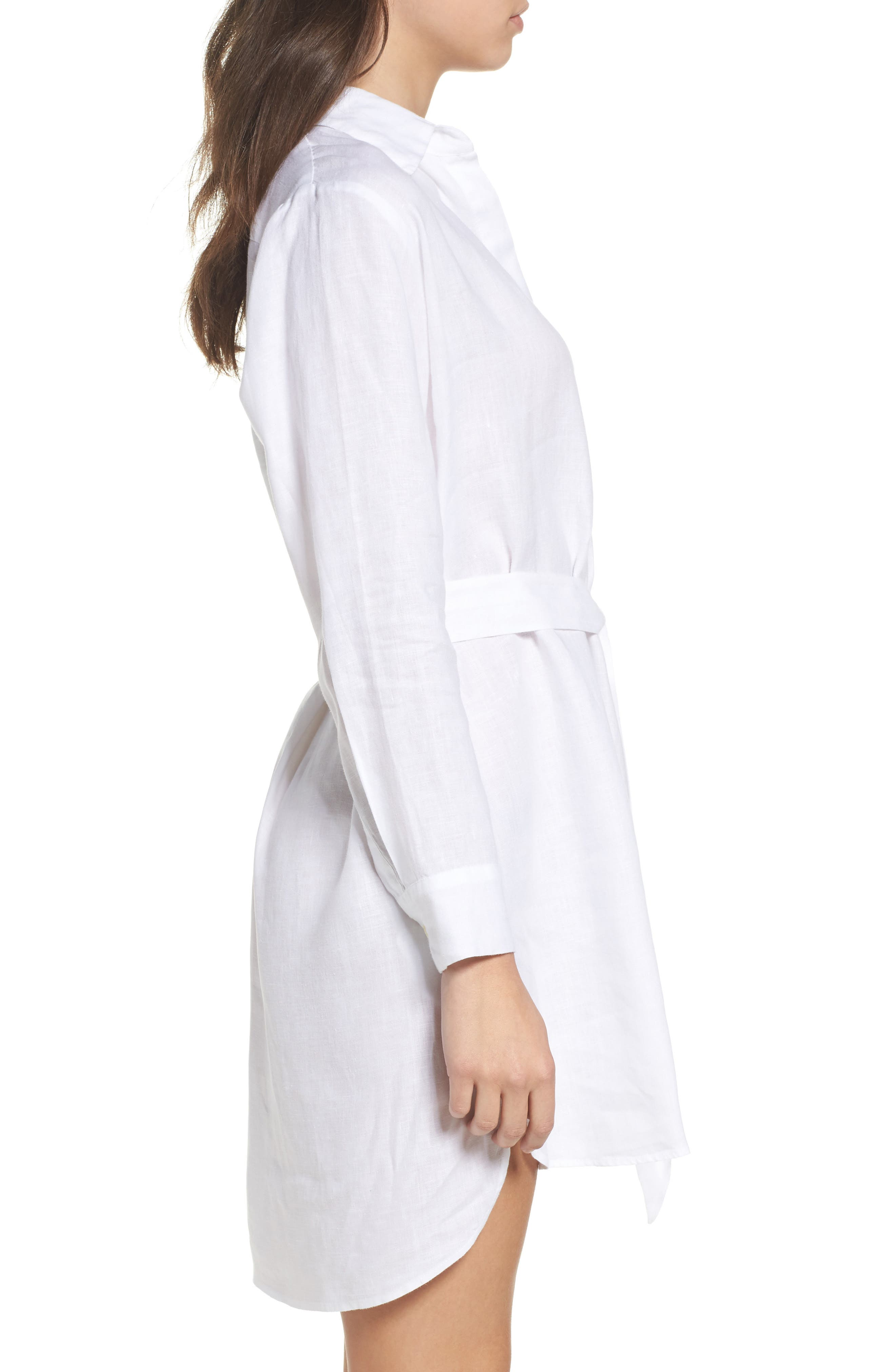 Linen Shirtdress,                             Alternate thumbnail 3, color,                             White