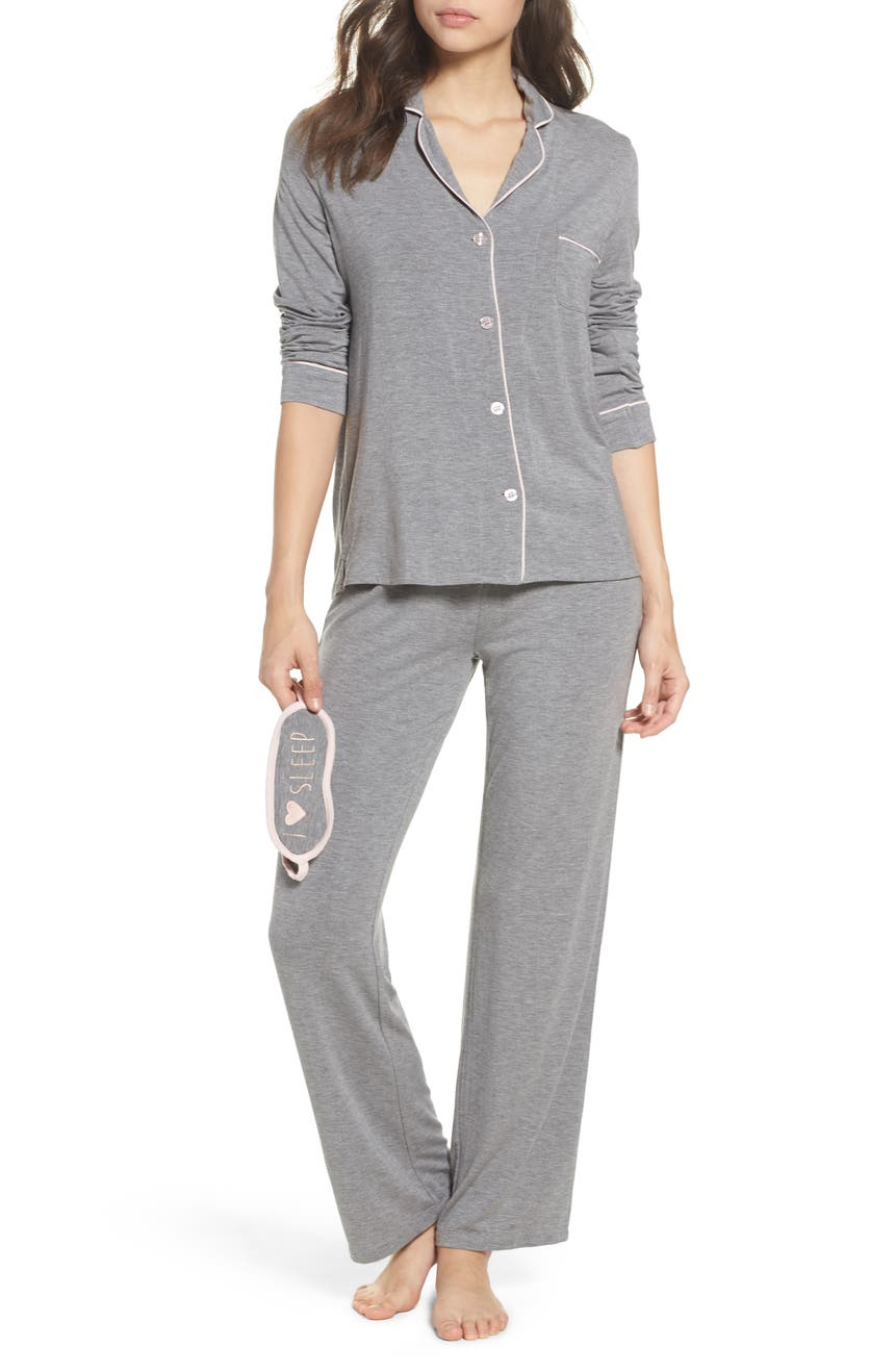 Main Image - PJ Salvage Stretch Modal Pajamas & Eye Mask