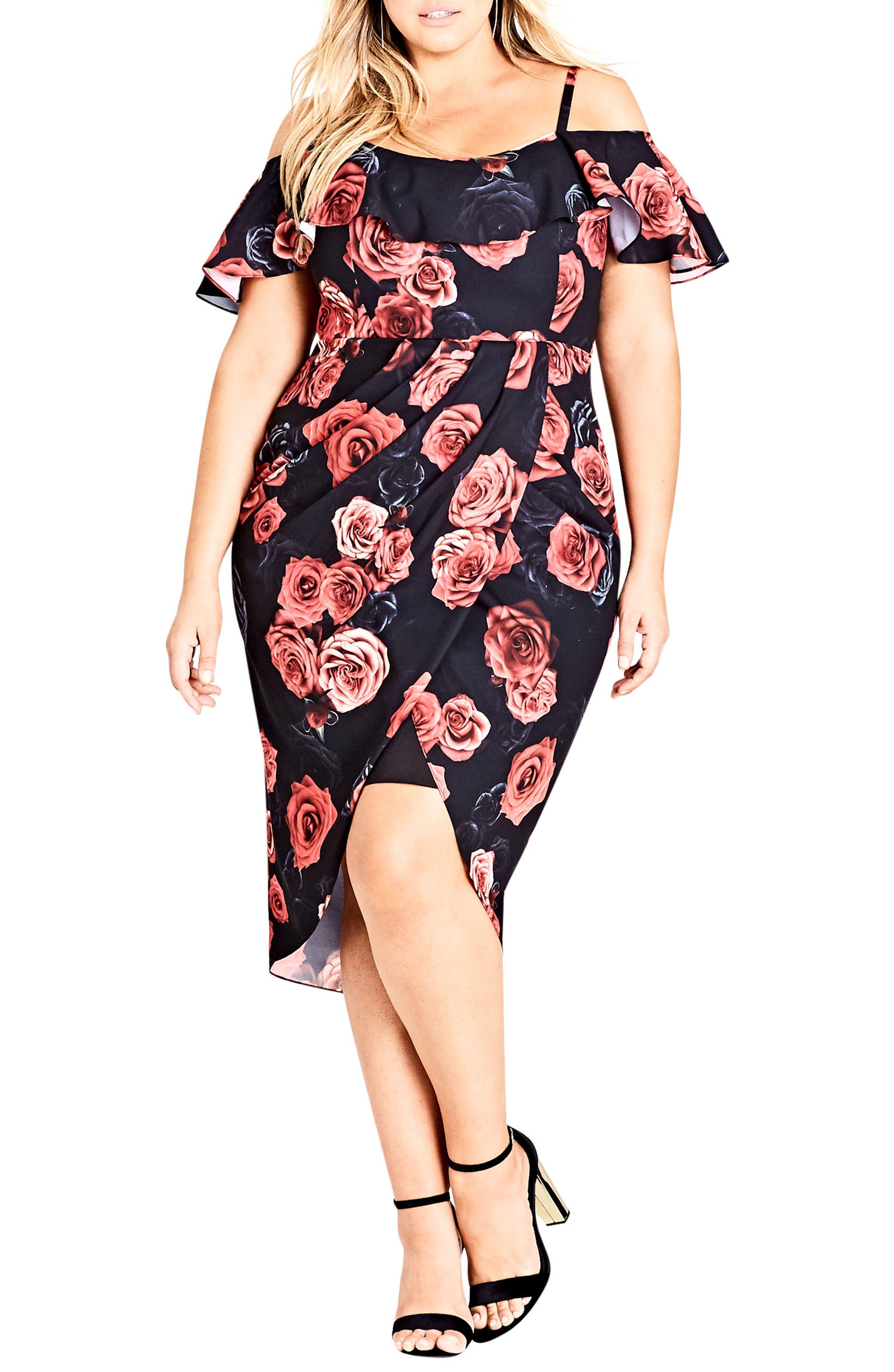 Salsa Rose Cold Shoulder Dress,                             Main thumbnail 1, color,                             Salsa Rose