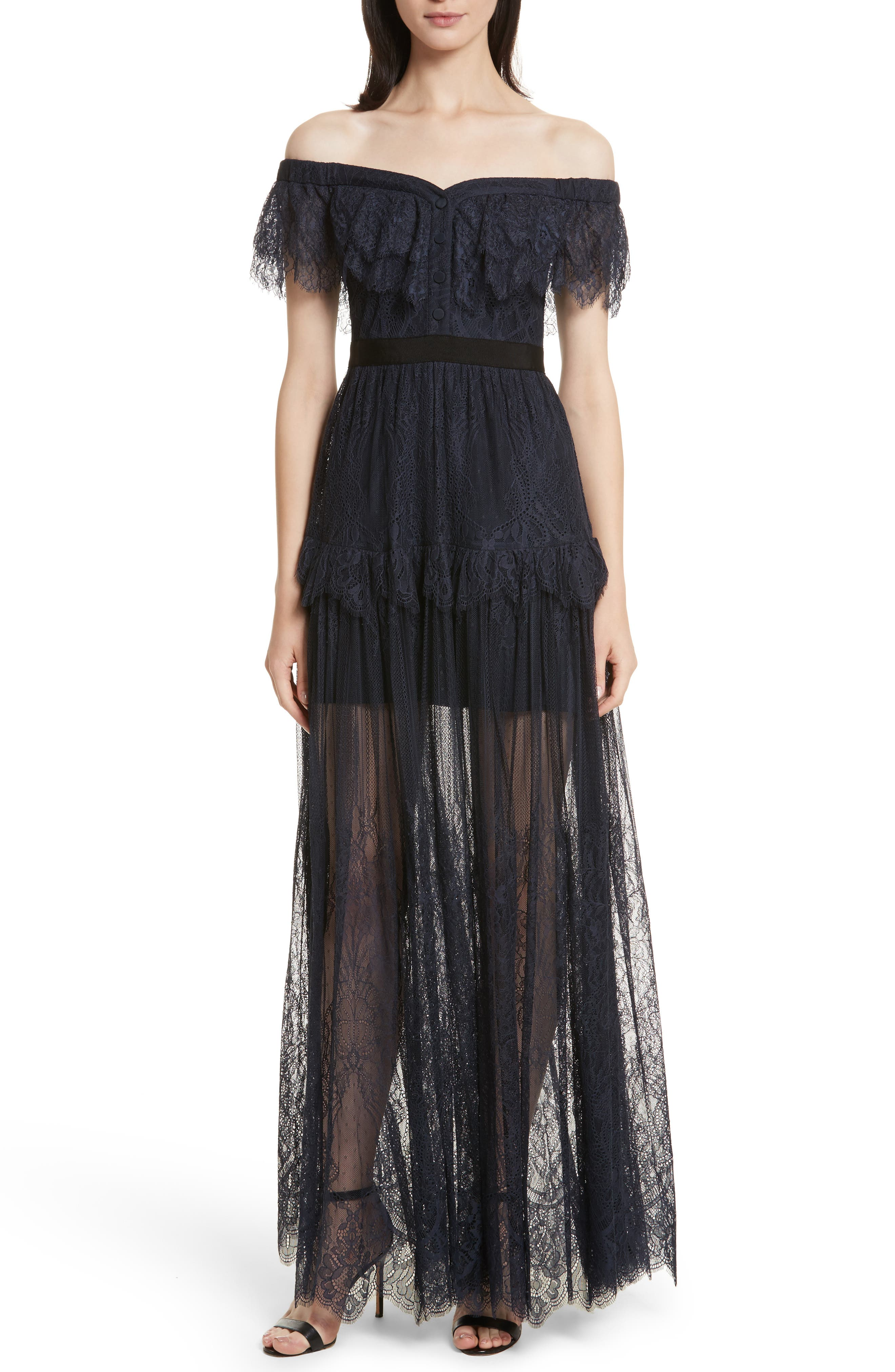 Fine Lace Off the Shoulder Maxi Dress,                         Main,                         color, Navy