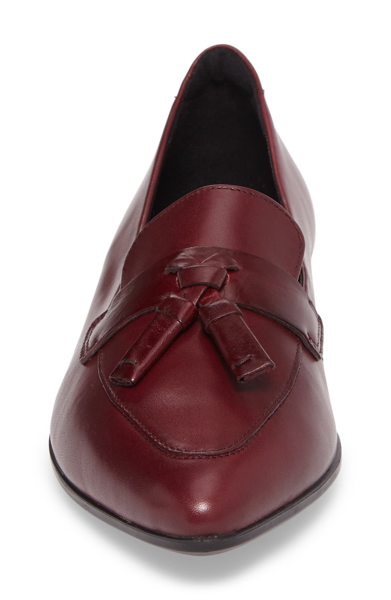 Pointy Toe Flat,                             Alternate thumbnail 4, color,                             Red Leather