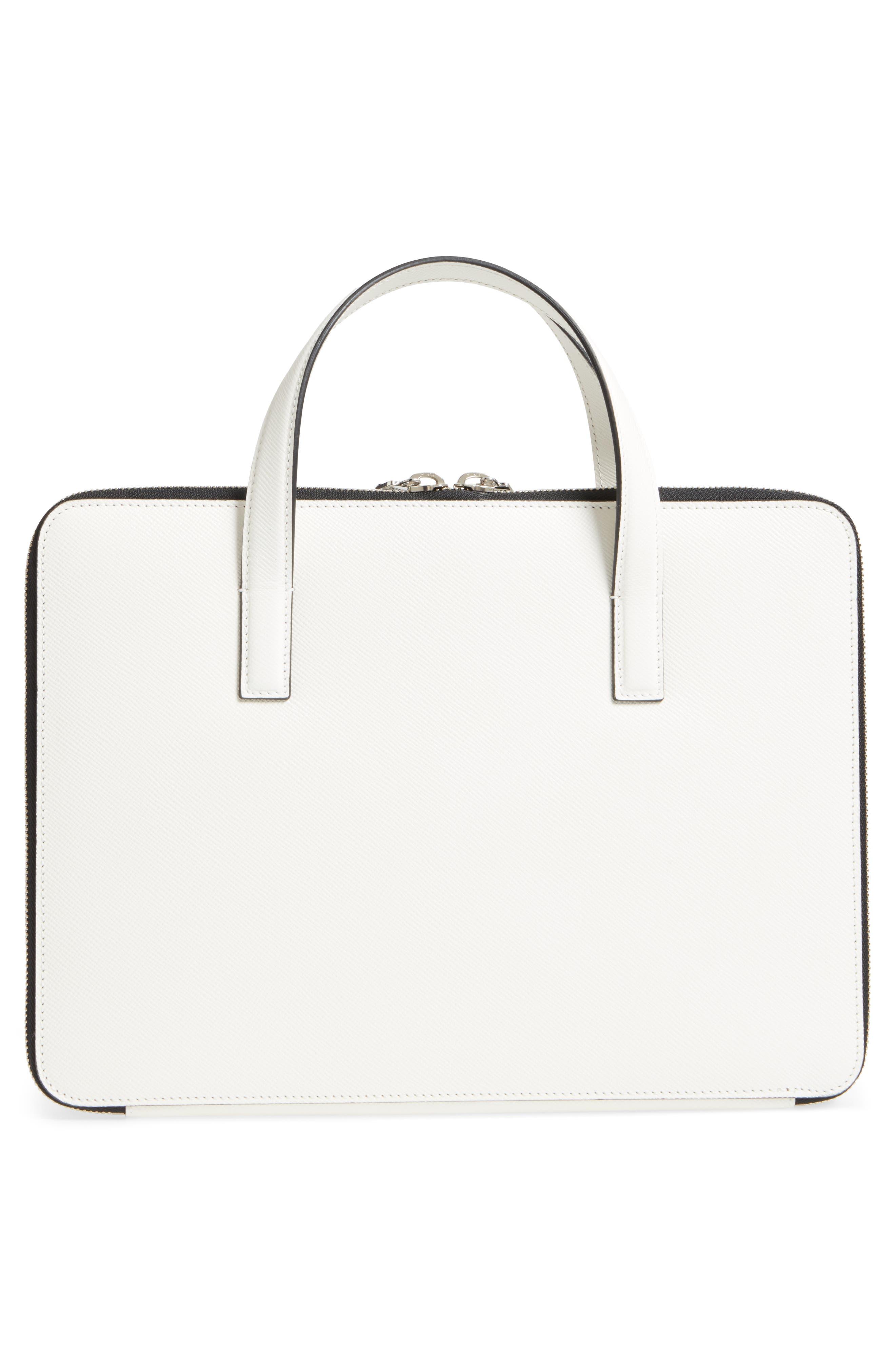 Flat Calfskin Briefcase,                             Alternate thumbnail 3, color,                             Milk
