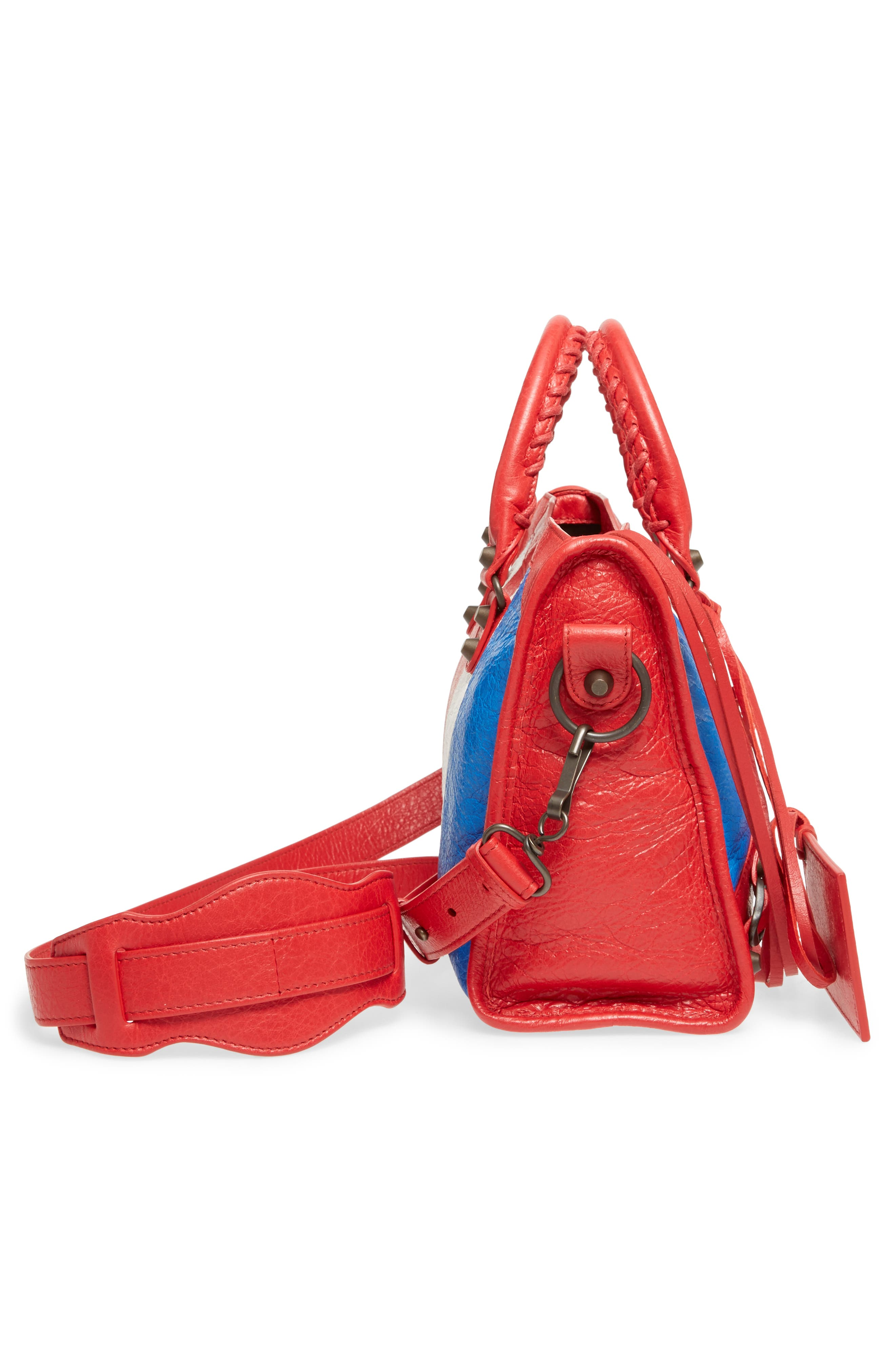 Small Classic City Leather Tote,                             Alternate thumbnail 5, color,                             Blue/ Blanc/ Rouge