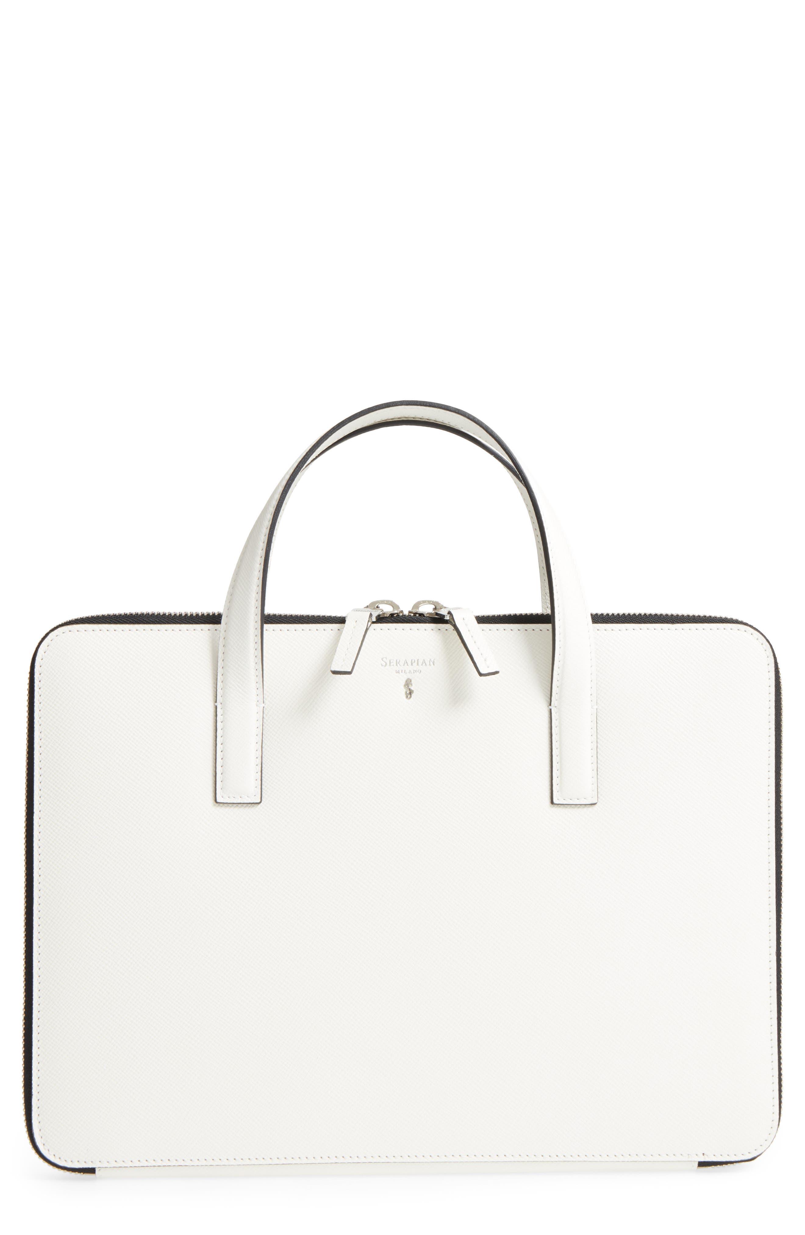 Flat Calfskin Briefcase,                         Main,                         color, Milk